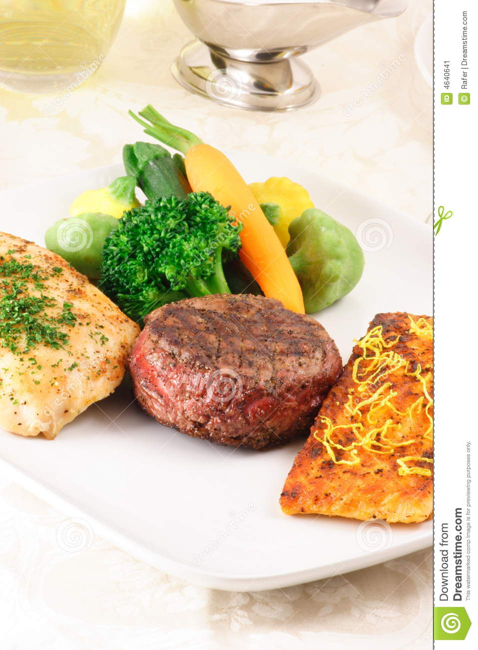 Beef fish and chicken feast stock image image 4640641 for Fish and chicken