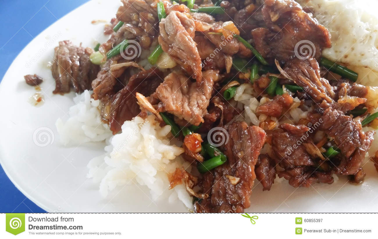 Beef Fried With Garlic And Rice. Thai Food Stock Photo ...