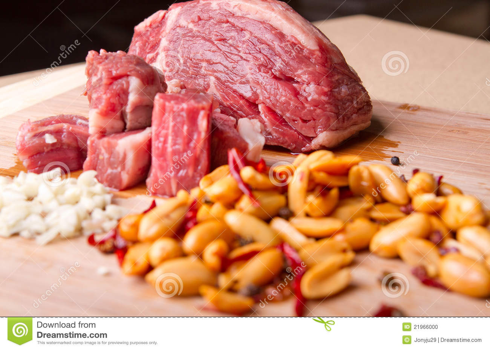 Beef Garlic And Spicy Peanut Prep Stock Photo - Image: 21966000