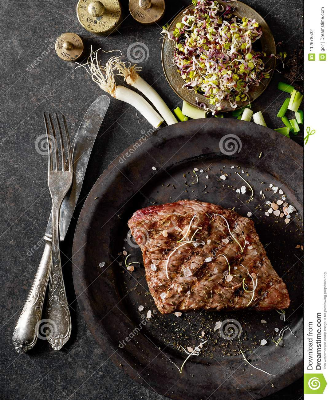 Grilled beef from above