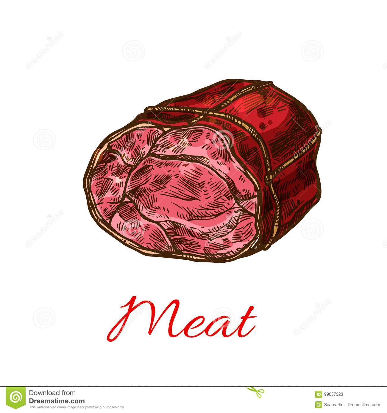beef meat roll sketch for food design stock vector - illustration of