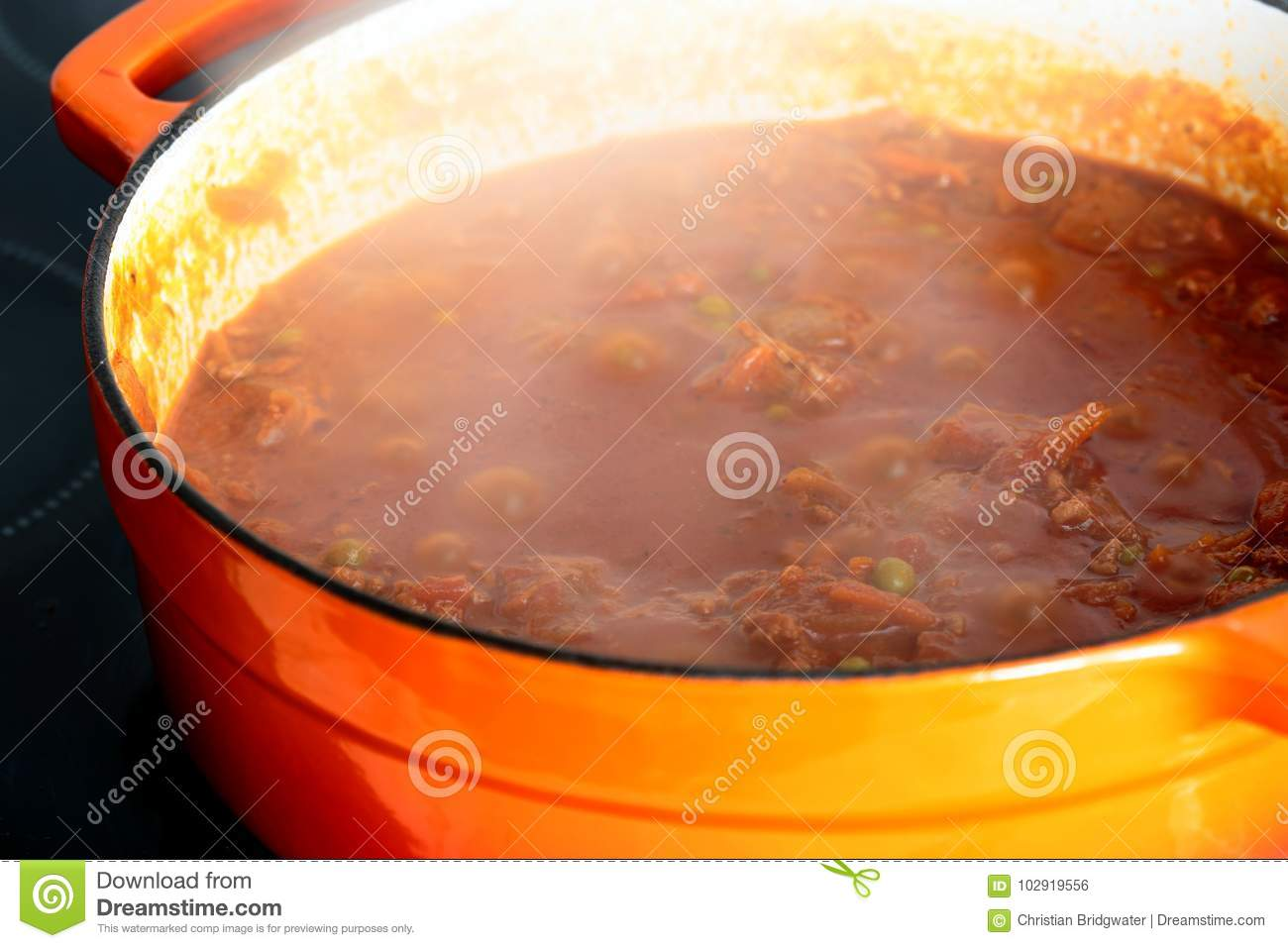 Download Beef Mince With Tomato And Peas In A Casserole Pot Stock Photo - Image of dish, ingredient: 102919556