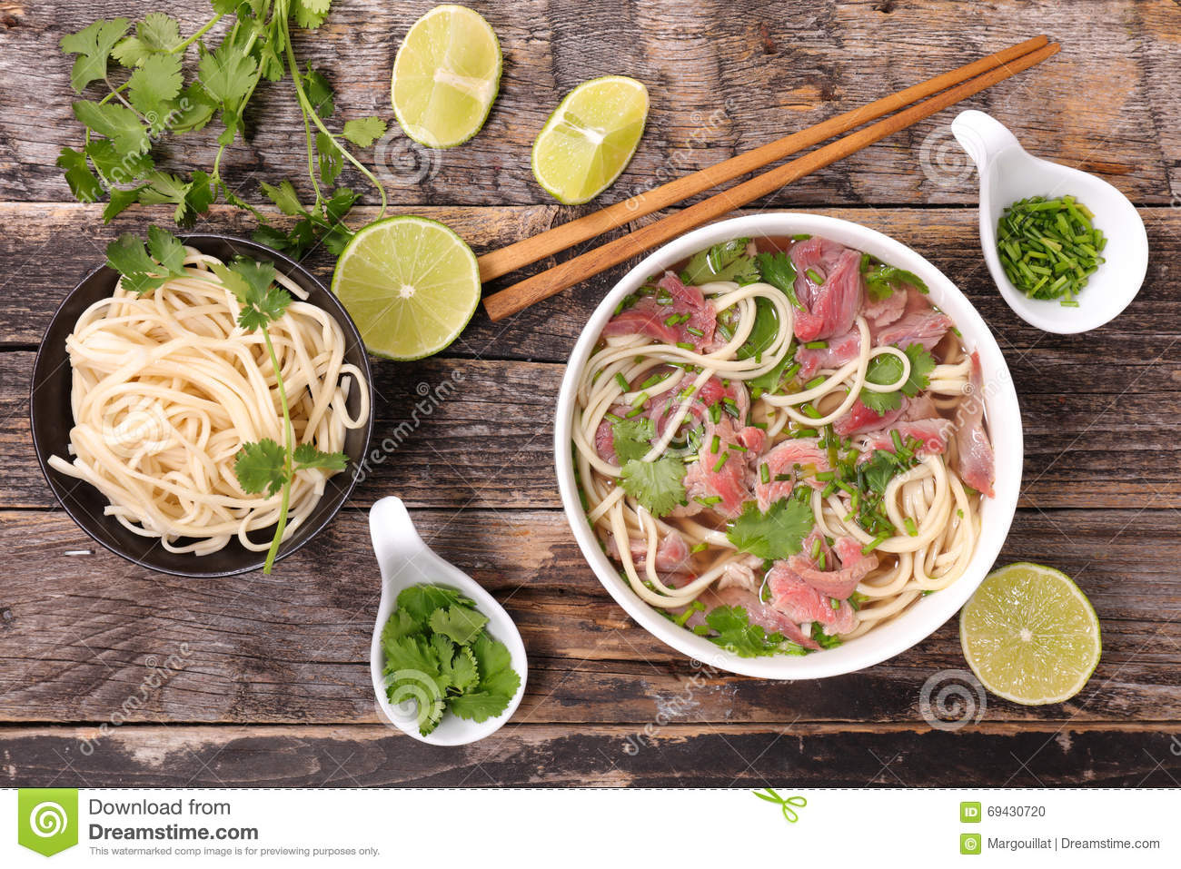 Beef pho and ingredient