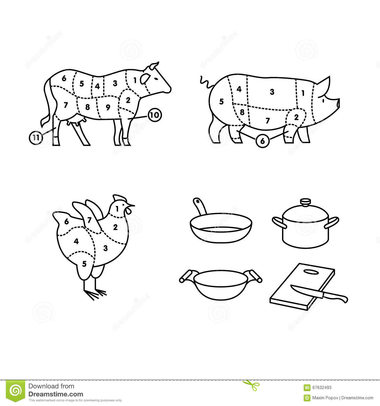 beef  pork and chicken cut schemes stock photo