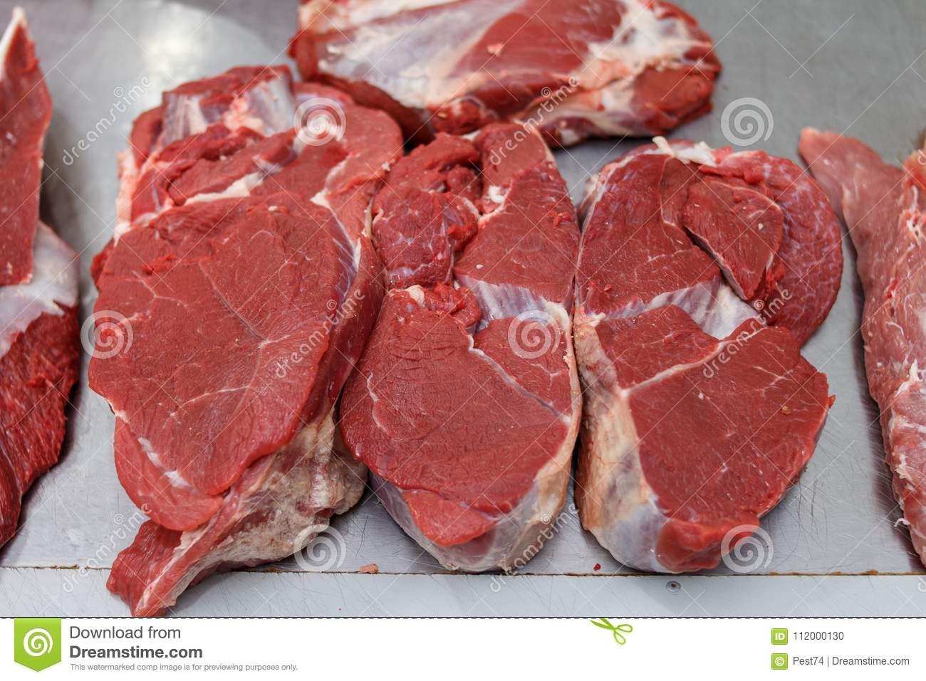 Beef. raw meat on the market