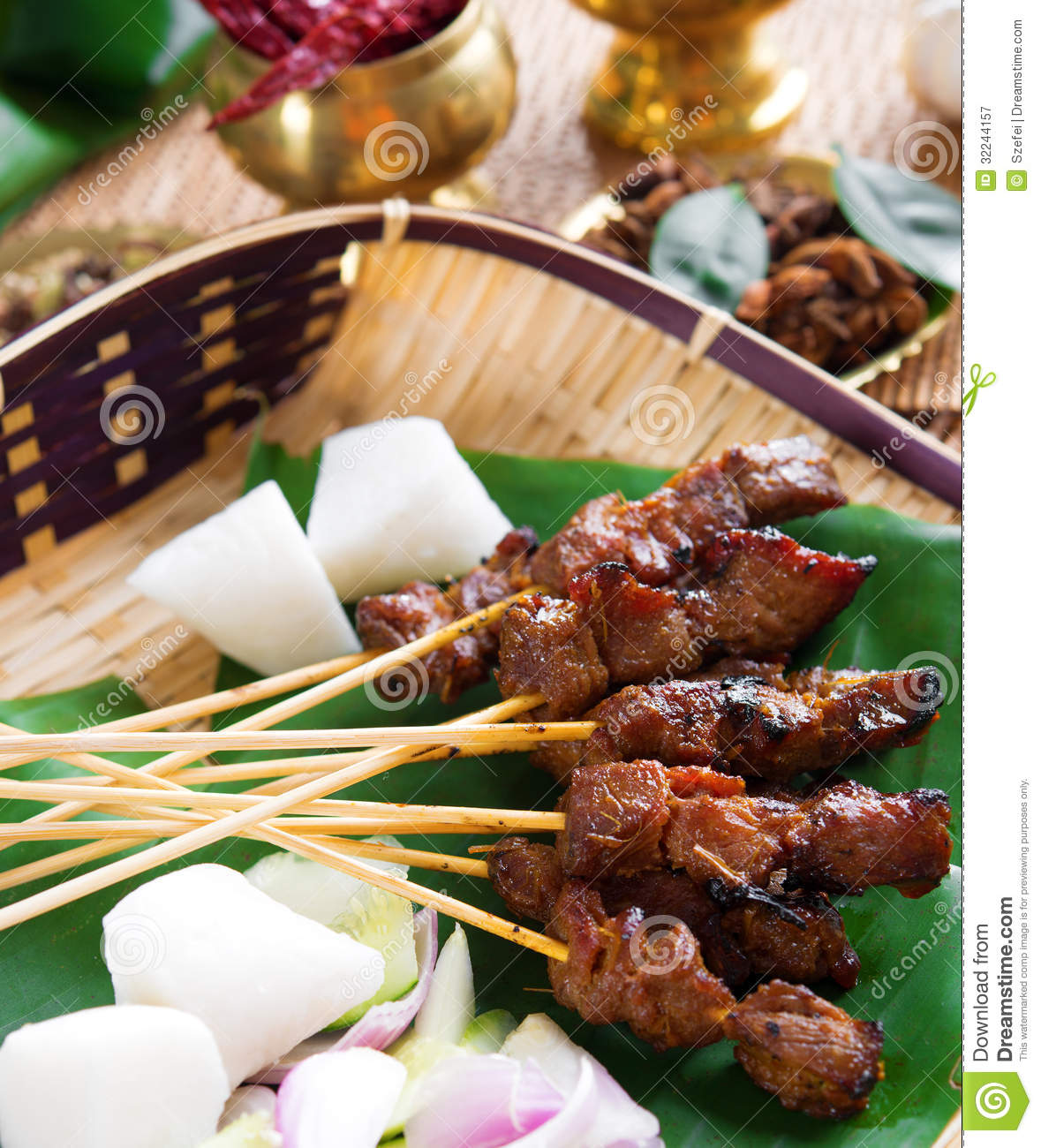 Beef satay stock image image of cooked celebrations for Authentic malaysian cuisine