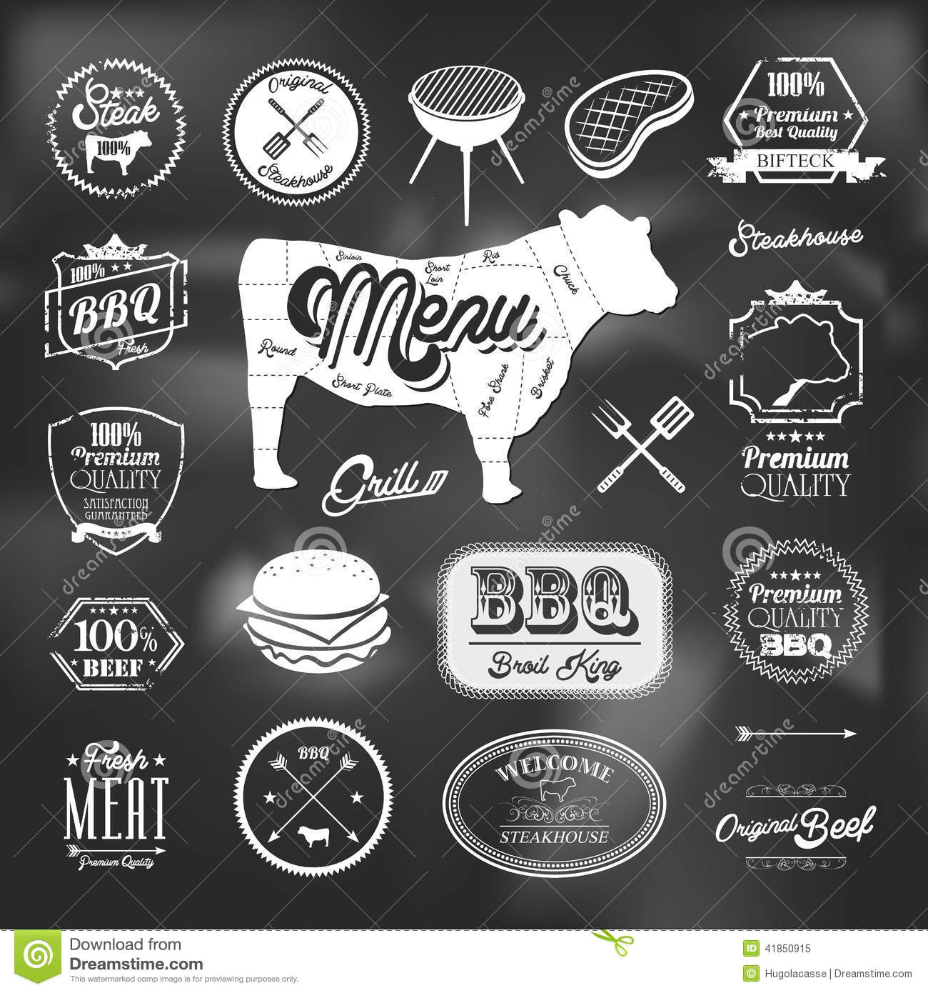 Beef specialty restaurant elements design stock vector