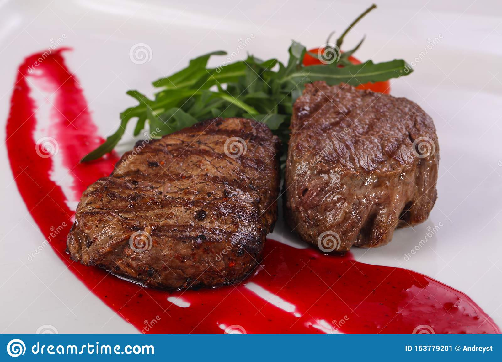 Beef steak with berry sauce