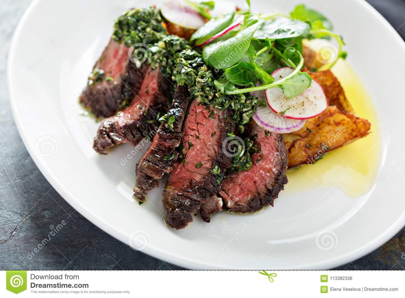 Beef Steak Sliced On A Plate Stock Photo Image Of Board Grilled 113382336