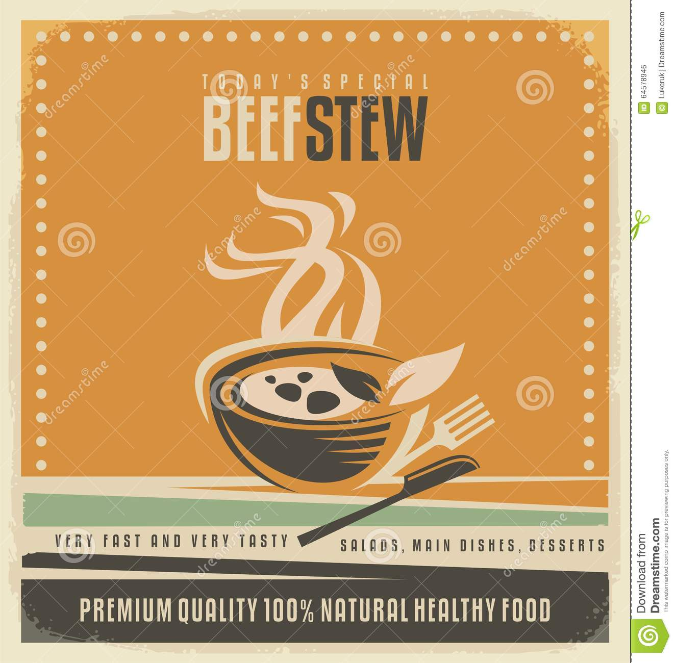 Beef stew retro poster layout stock vector illustration