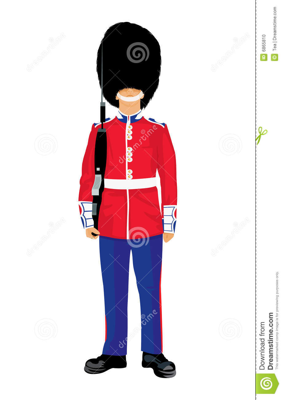 Vector image of beefeater isolated on white.