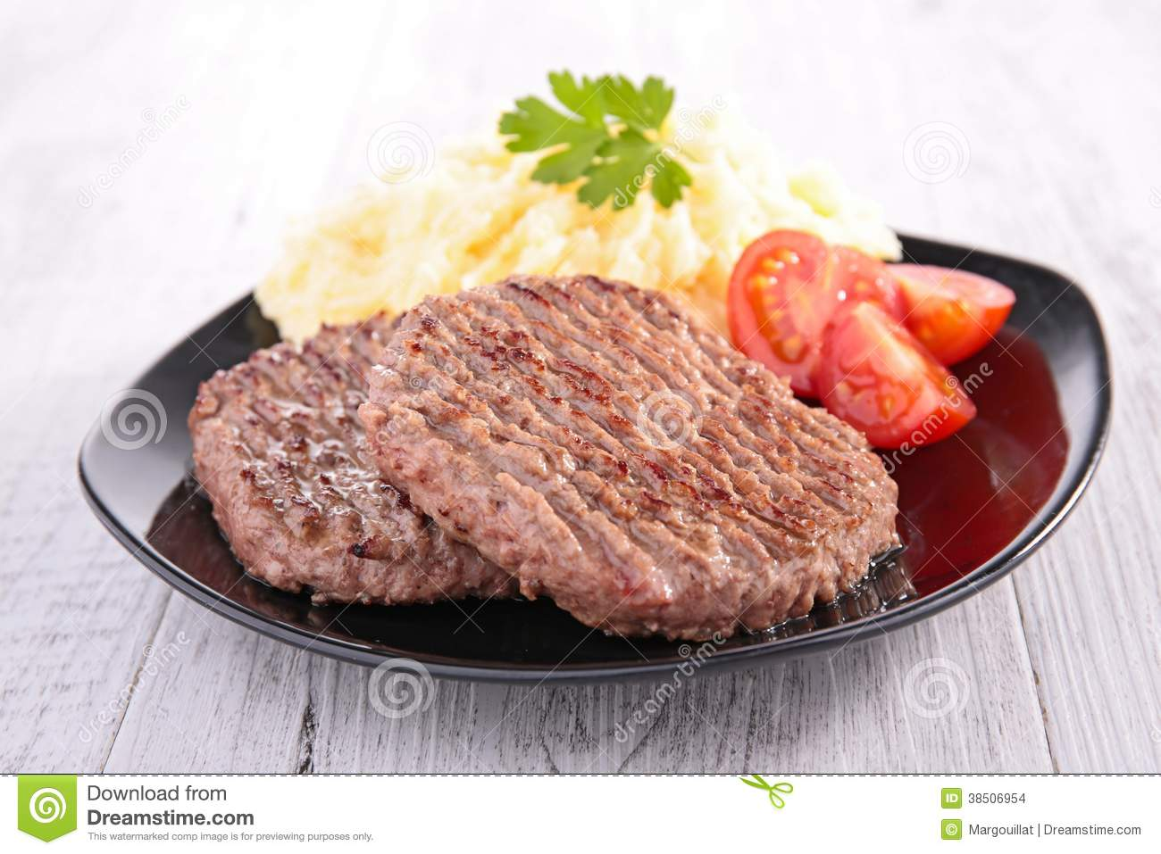 Download Beefsteak and puree stock photo. Image of dining, grilled - 38506954