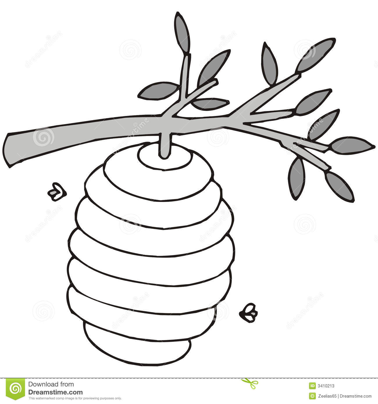 Art illustration in black and white: a beehive.