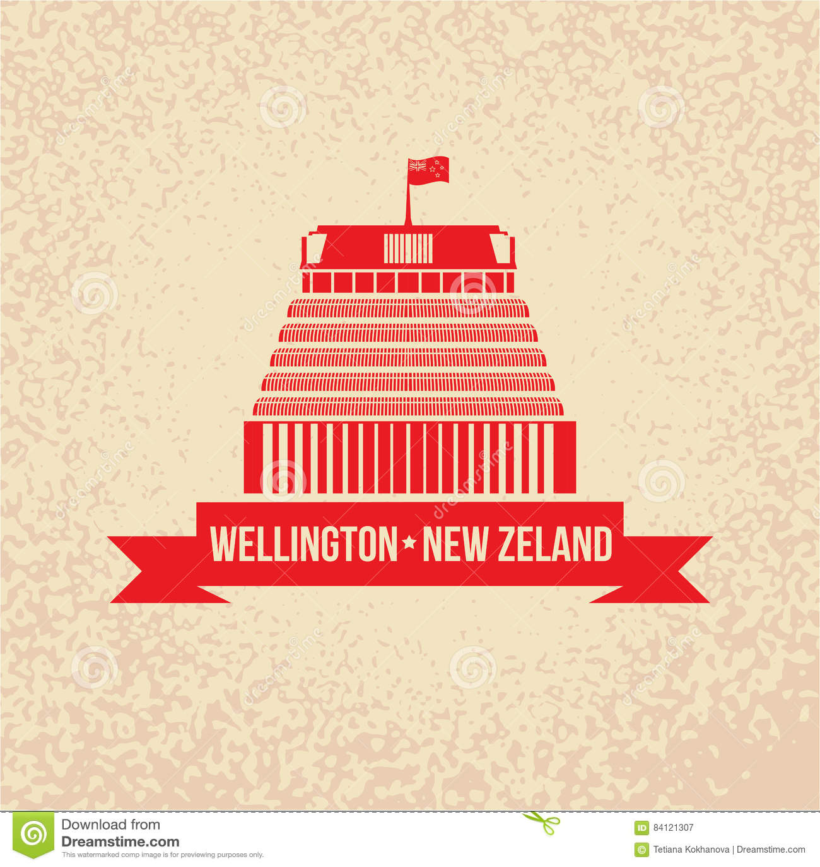 Beehive The Symbol Of Wellington New Zeland Stock Vector