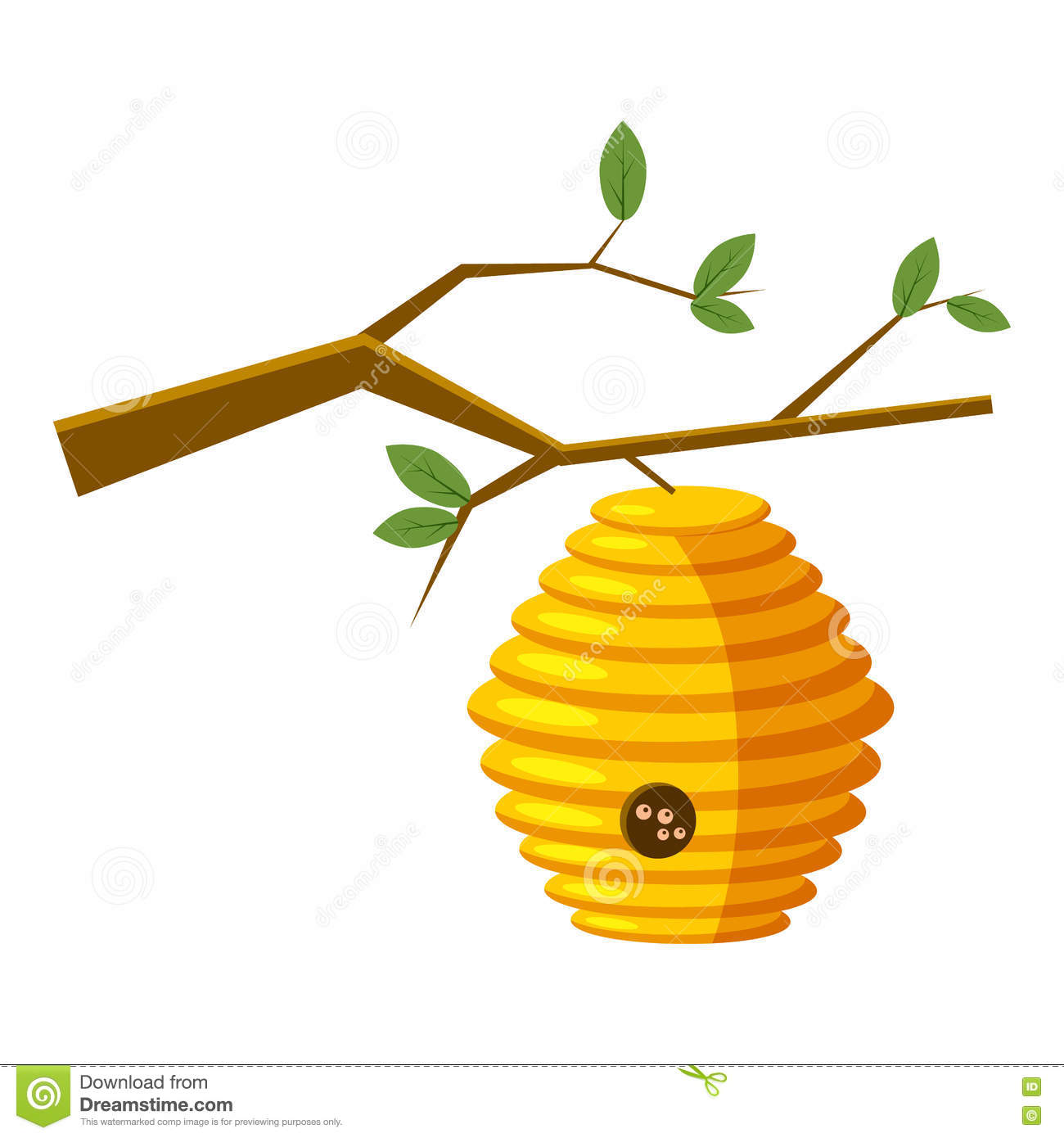 Beehive On Tree Icon Cartoon Style Royalty Free Stock Images