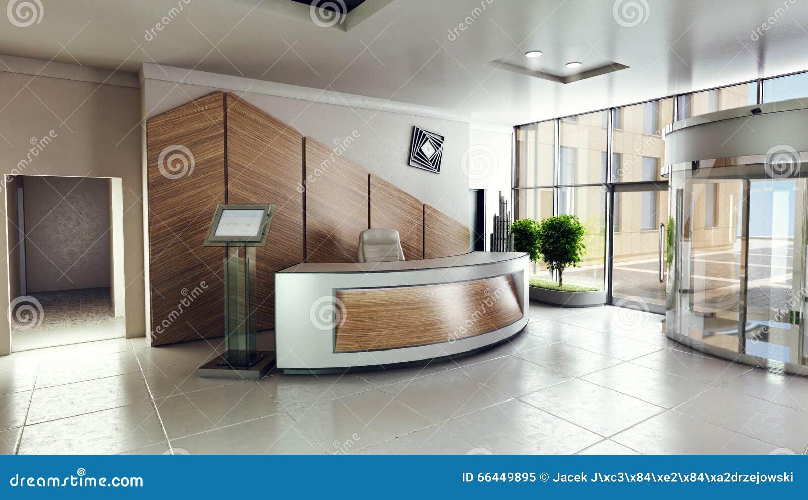 Beeinflussen Sie Eingang mit Aufnahmeschreibtisch in einem Geschäftszentrumgebäude