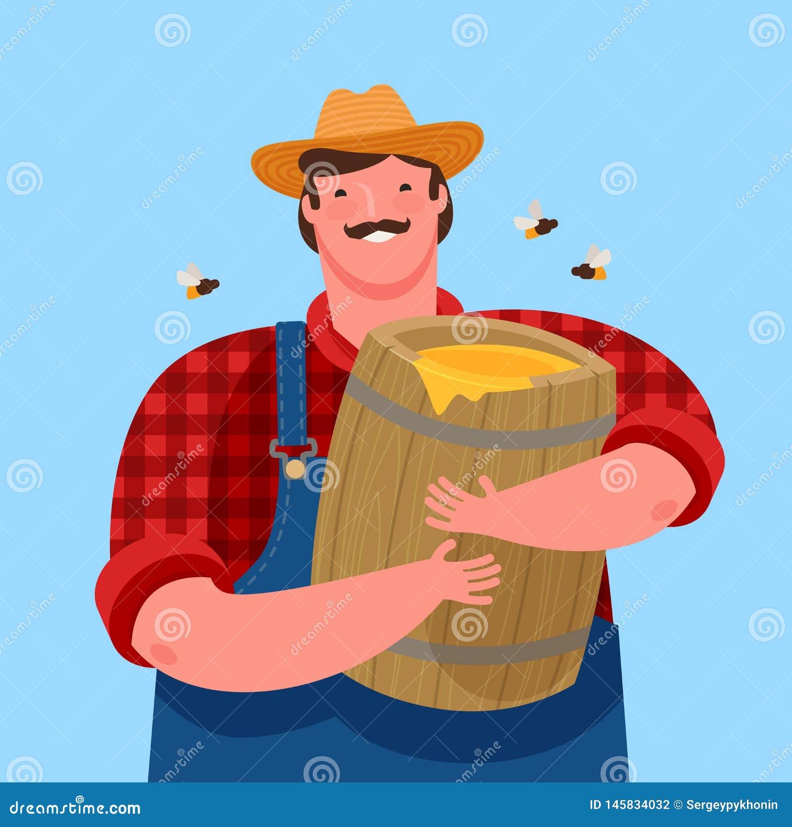 Beekeeper is holding a wooden keg with honey. Beekeeping, cartoon vector illustration