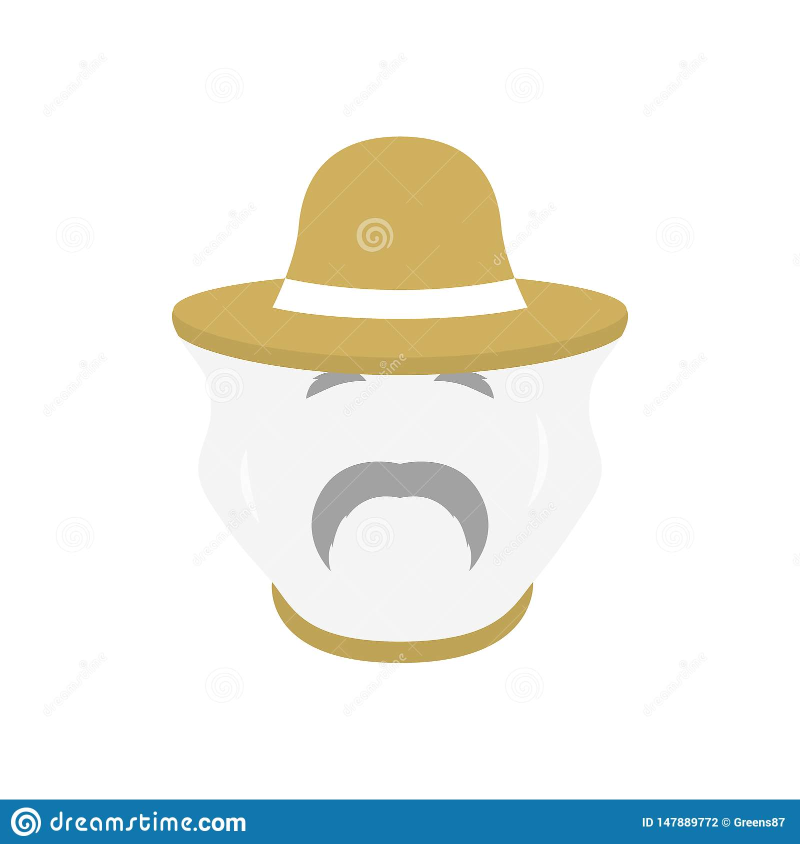 Beekeeper with protect hat icon. Men farmer face.