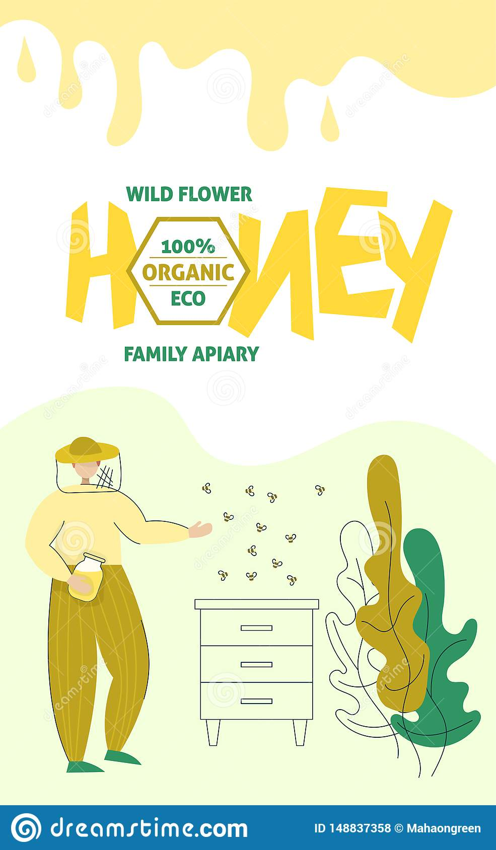 Beekeeper in a protective suit stand with a jar of honey. Honey organic business production process banner. Isolated flat trendy