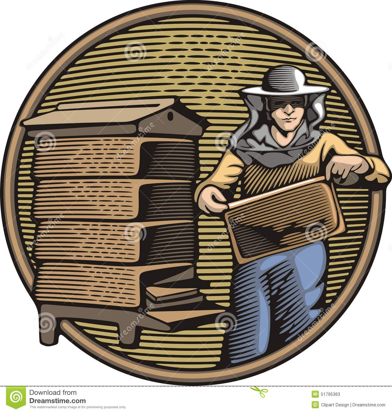 Download Beekeeper Vector Illustration In Woodcut Style Stock Vector - Illustration of agriculture, safety: 51795363
