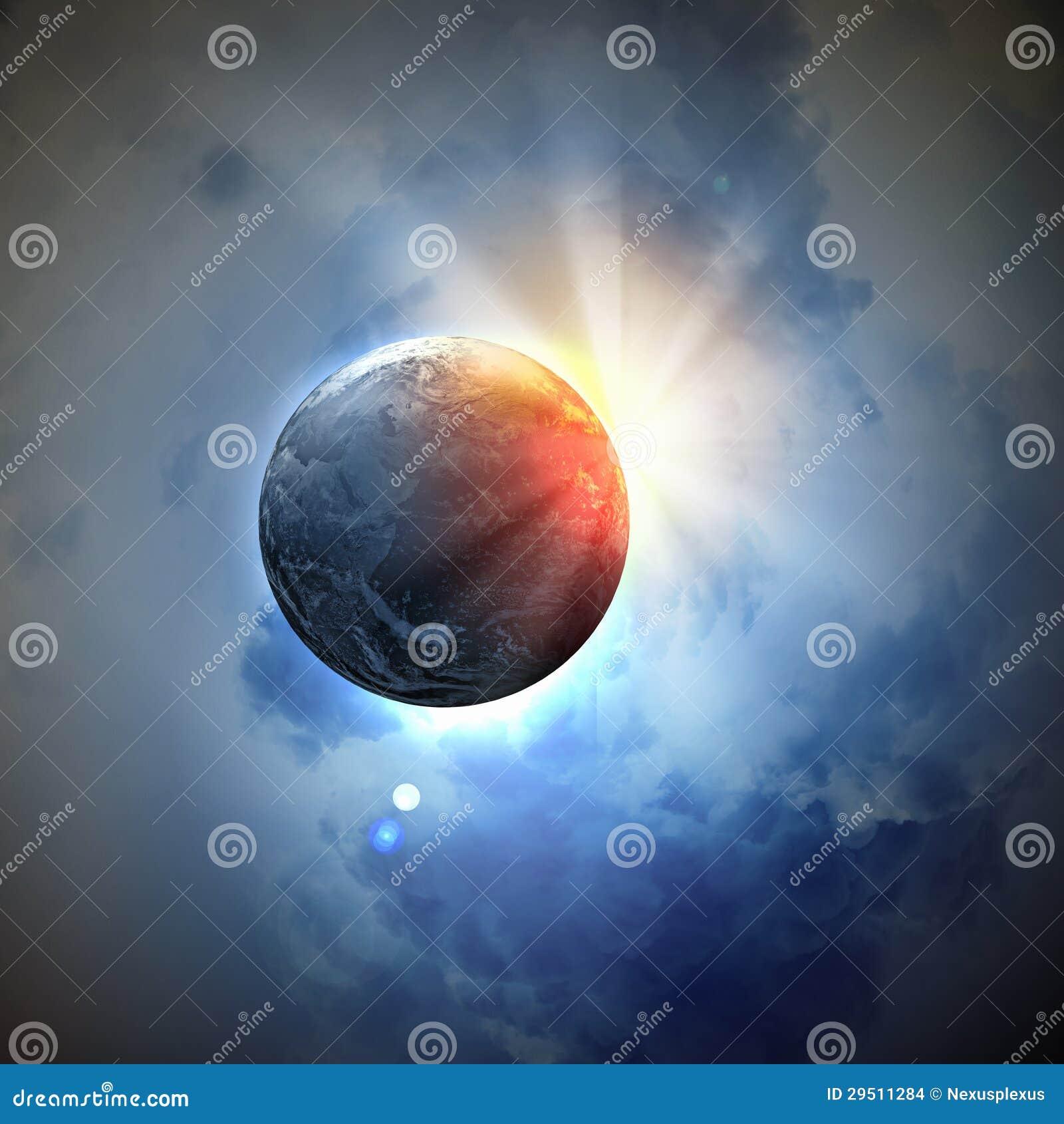 Beeld van aardeplaneet in ruimte