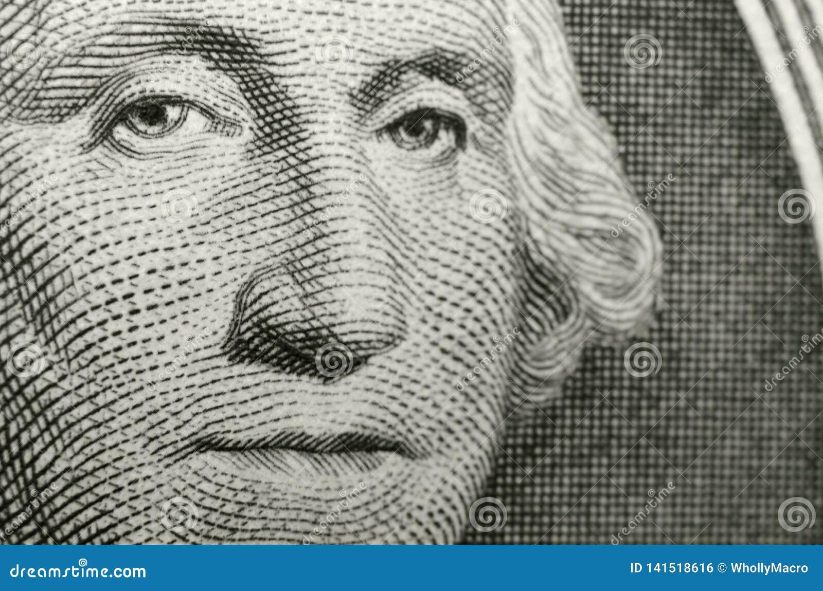 Beeld van Amerikaans pictogram, George Washington, van de obvers van de Amerikaanse dollar