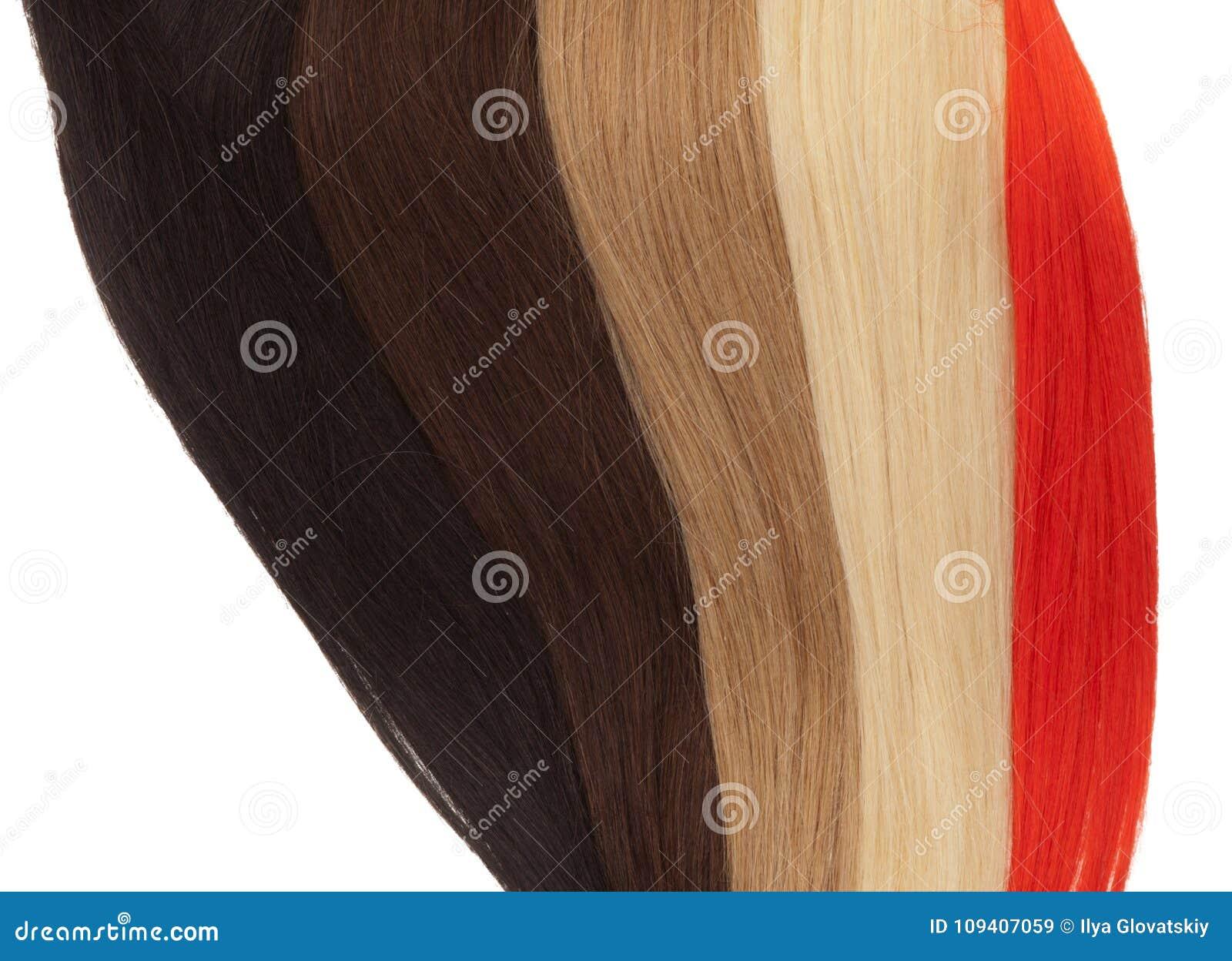 Beeld van de remy uitbreidingen van het vrouwen` s haar in verschillende kleuren
