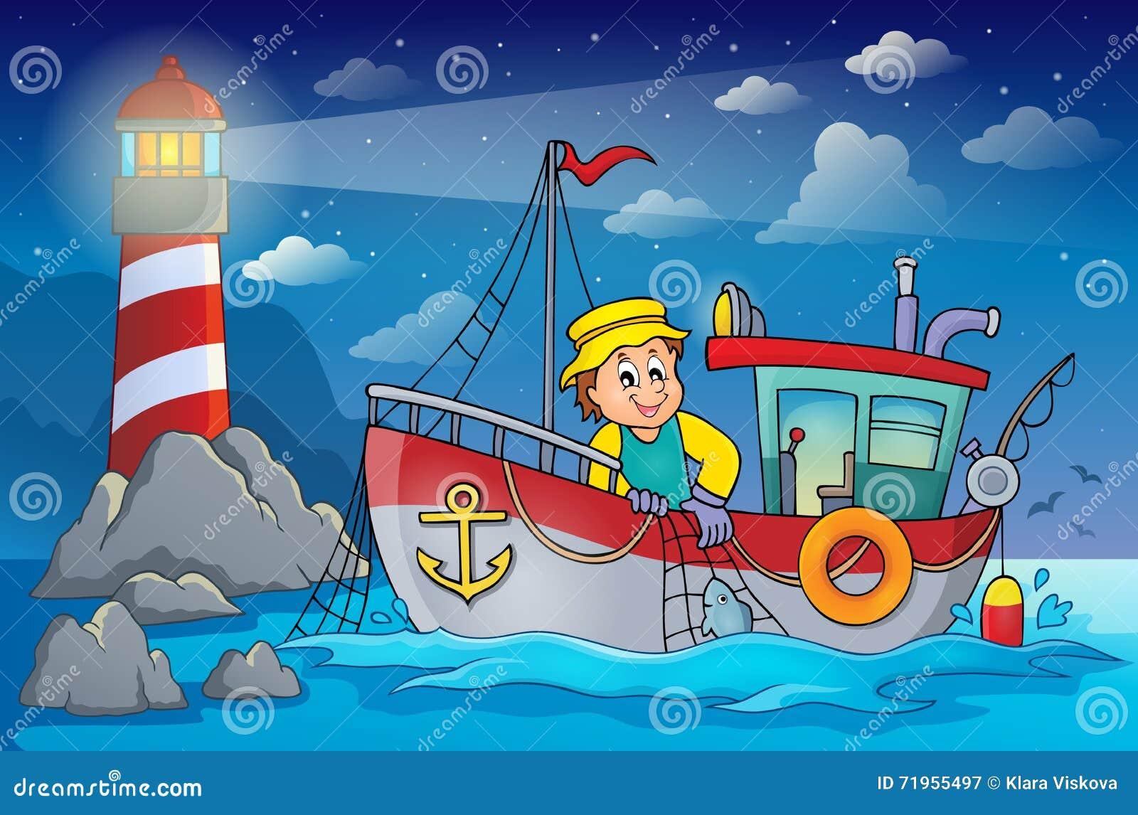 Beeld 4 van het vissersbootthema