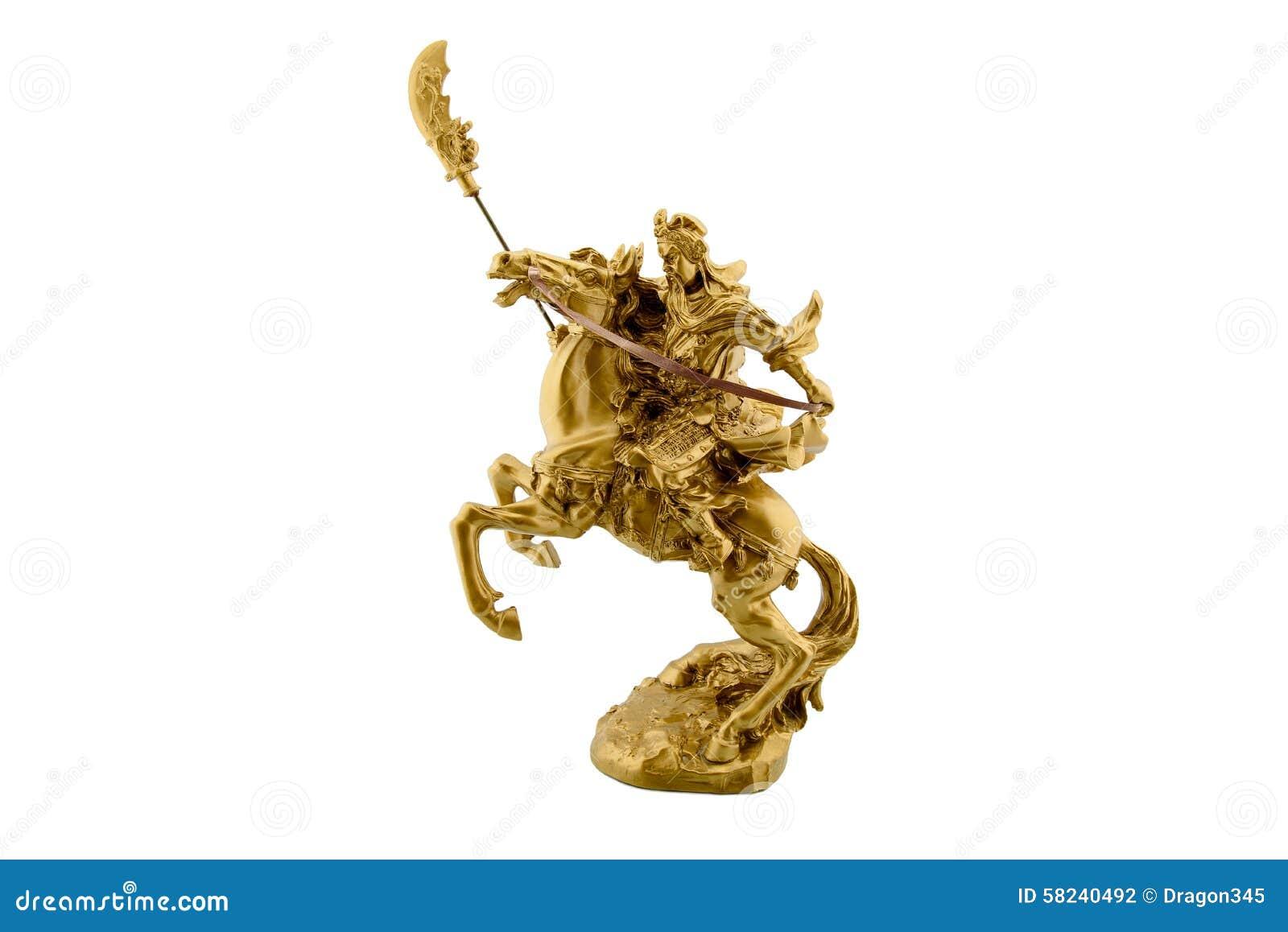 Beeldje van legendarisch Chinees algemeen Guan Yu die op horseback berijden
