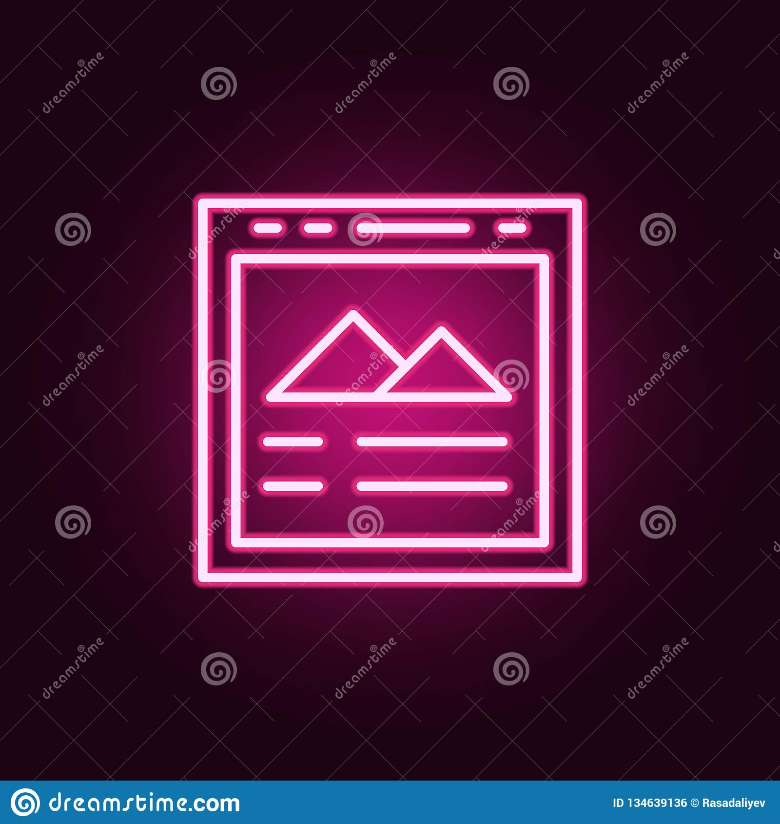 Beeldpictogram Elementen van Web in de pictogrammen van de neonstijl Eenvoudig pictogram voor websites, Webontwerp, mobiele toepa