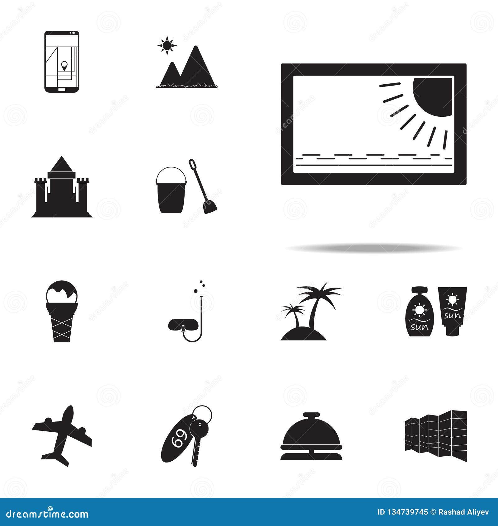 Beeldpictogram voor Web wordt geplaatst dat en mobiel de pictogrammenalgemeen begrip van het de zomergenoegen