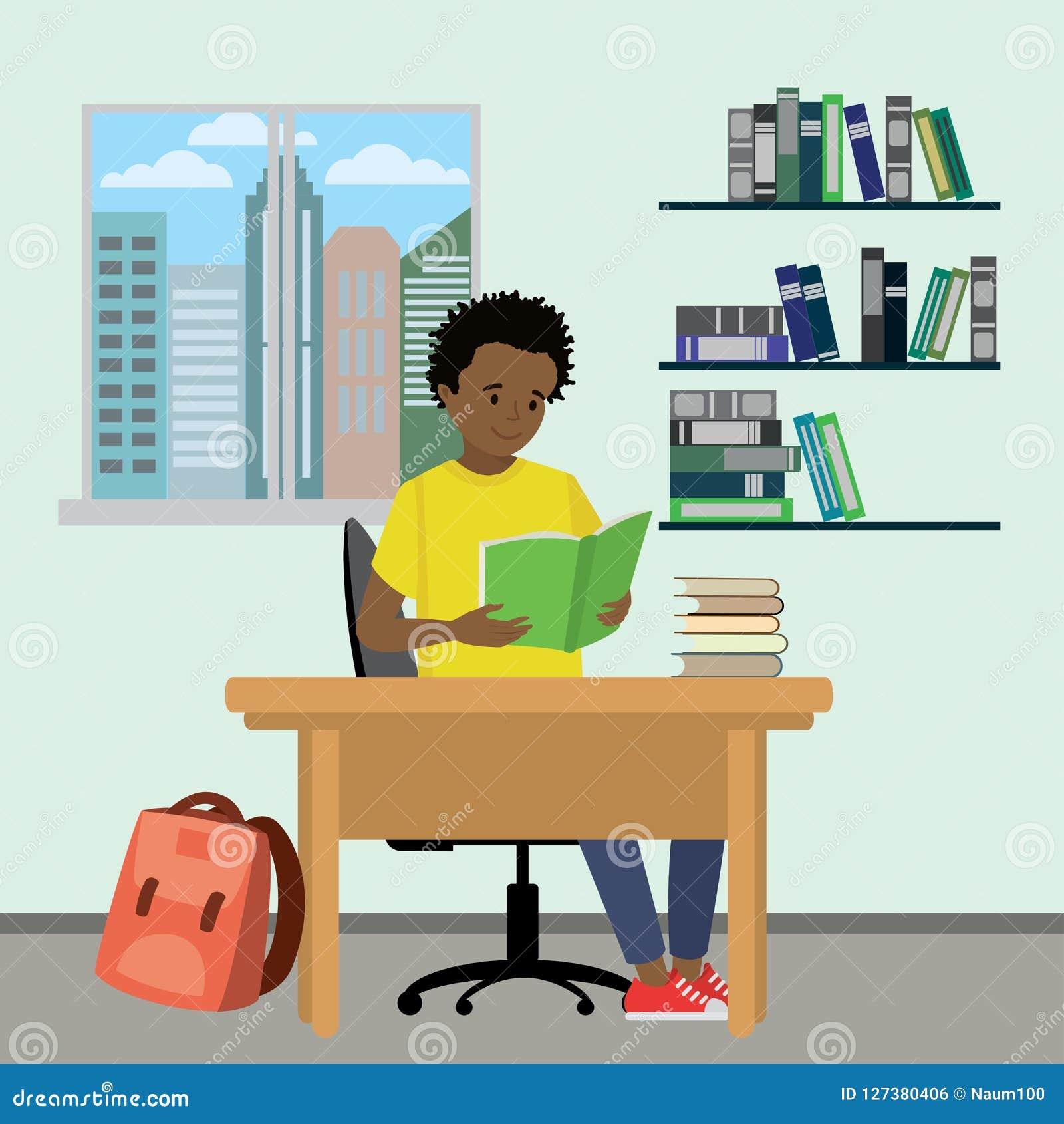 Beeldverhaal Afrikaans Amerikaans tiener gelezen boek, leerproces