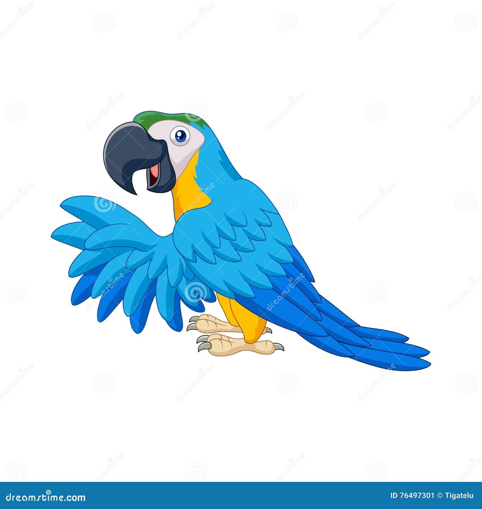 Wonderbaarlijk Beeldverhaal Blauwe Papegaai Vector Illustratie - Illustratie BF-93