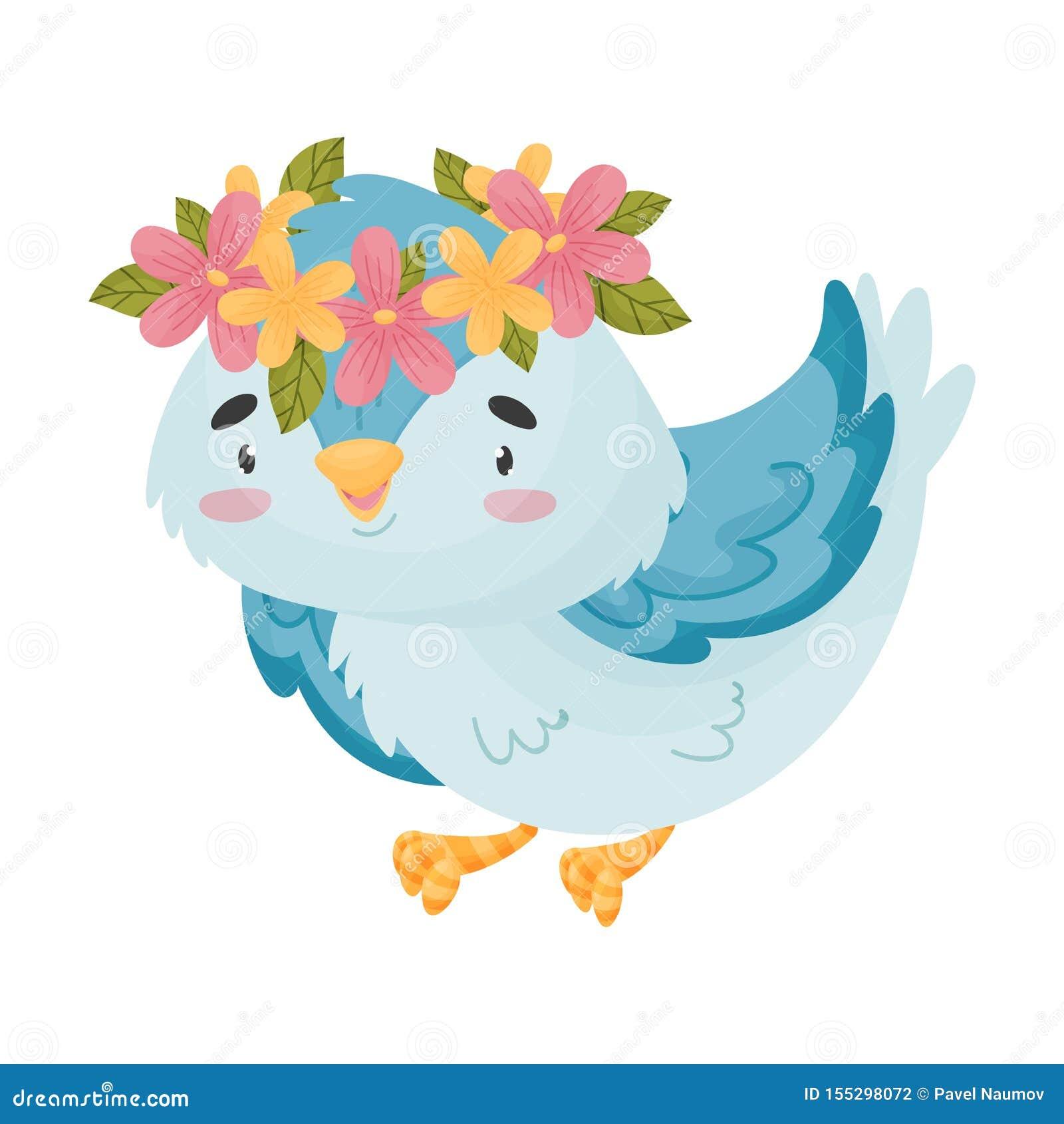 Beeldverhaal blauwe vogel met een kroon Vector illustratie op witte achtergrond