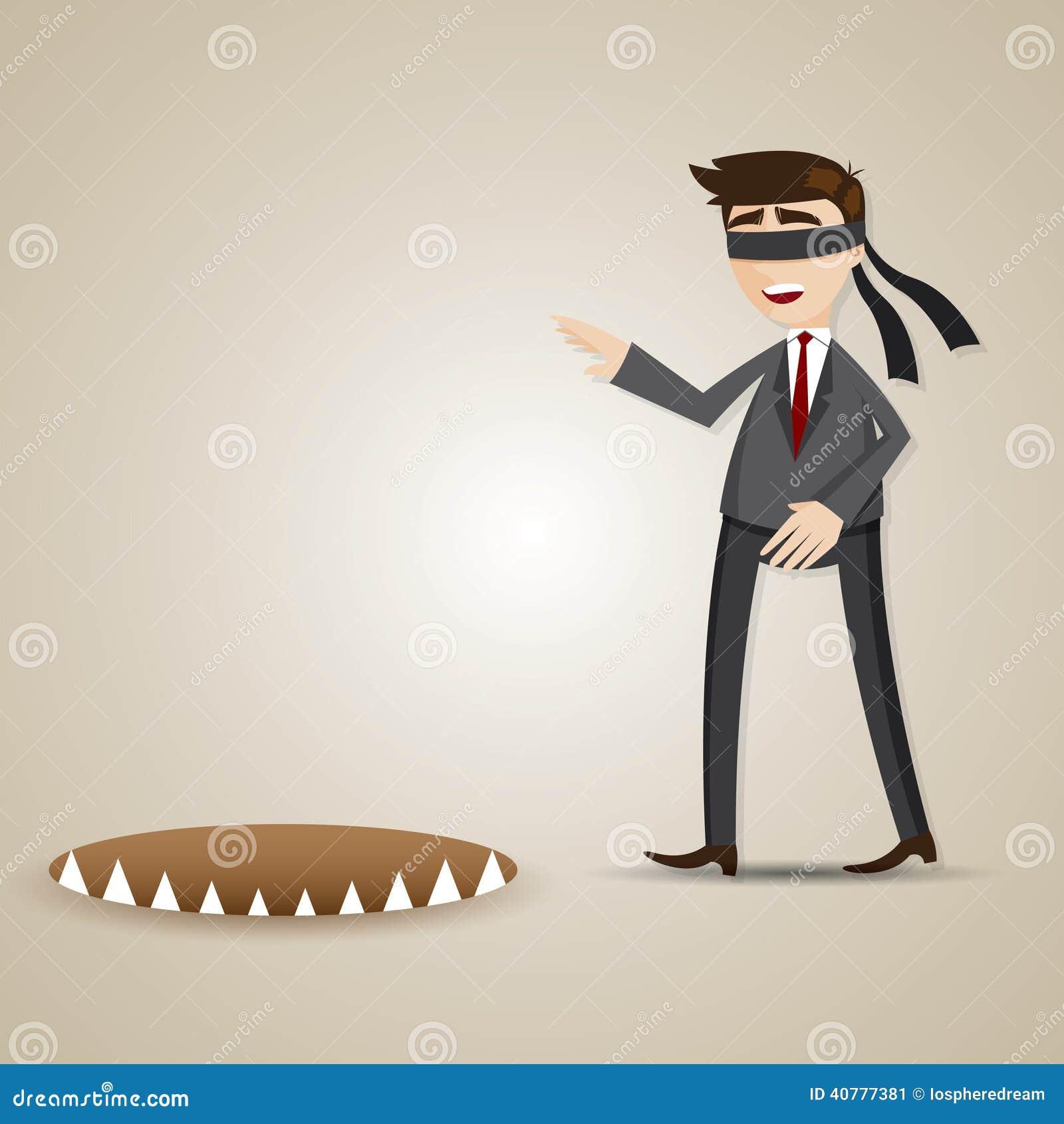 Beeldverhaal blinde zakenman die in gevaar lopen