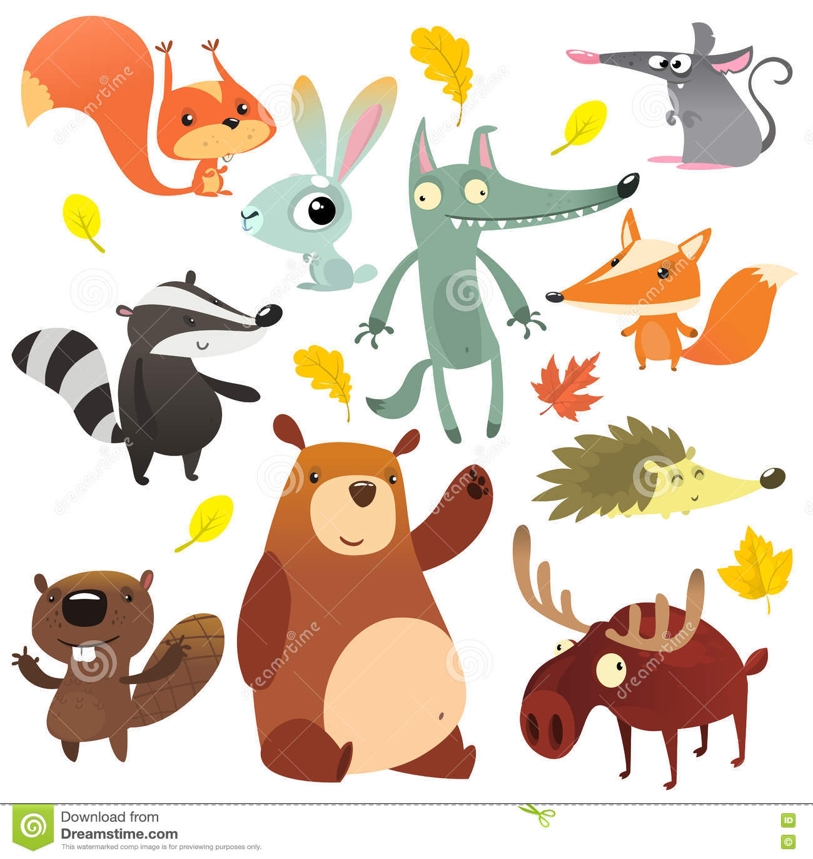 Beeldverhaal bos dierlijke karakters Wilde de inzamelingenvector van beeldverhaaldieren Eekhoorn, muis, das, wolf, vos, bever, be