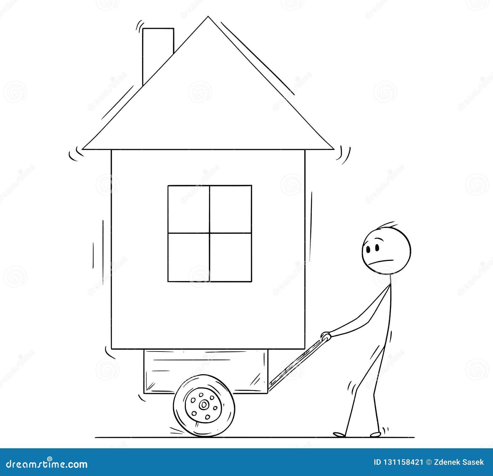 Beeldverhaal die van de Mens Zijn Huis op Stootkar of Kar duwen