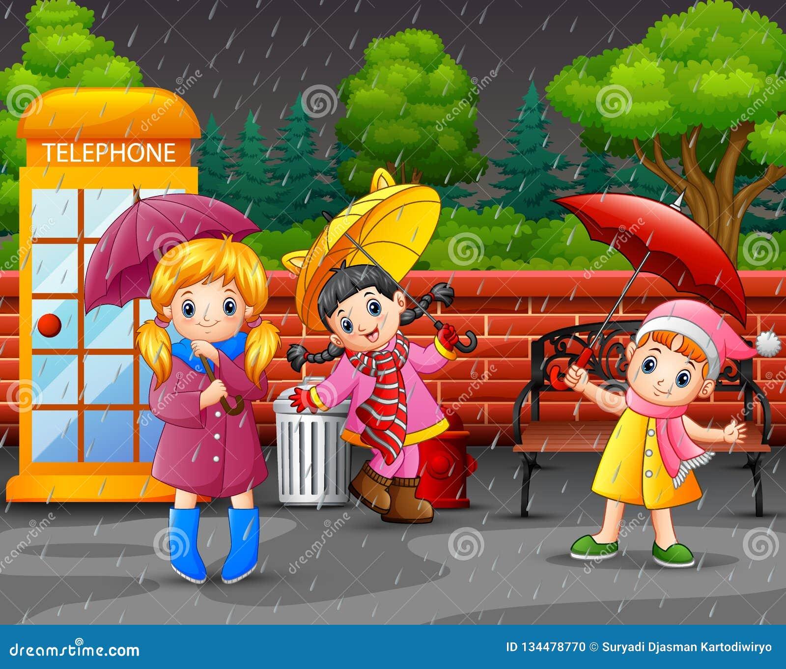Beeldverhaal drie meisjes dragende paraplu onder de regen in het stadspark