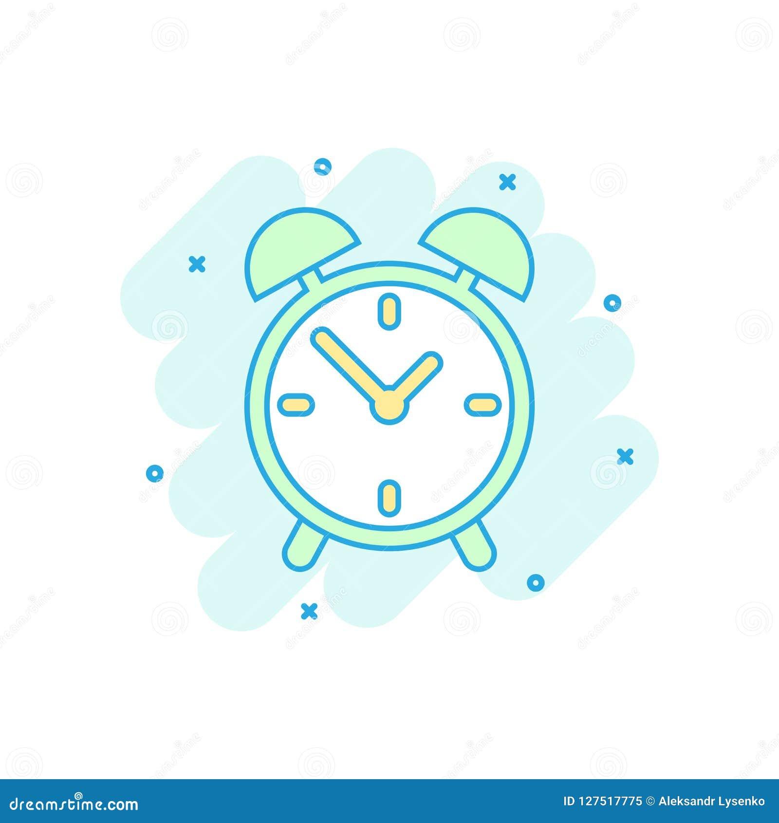Beeldverhaal gekleurd wekkerpictogram in grappige stijl Tijdopnemer illustrat