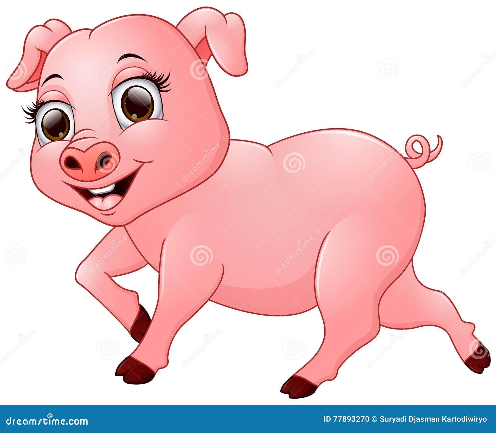 Beeldverhaal gelukkig die varken op witte achtergrond wordt geïsoleerd