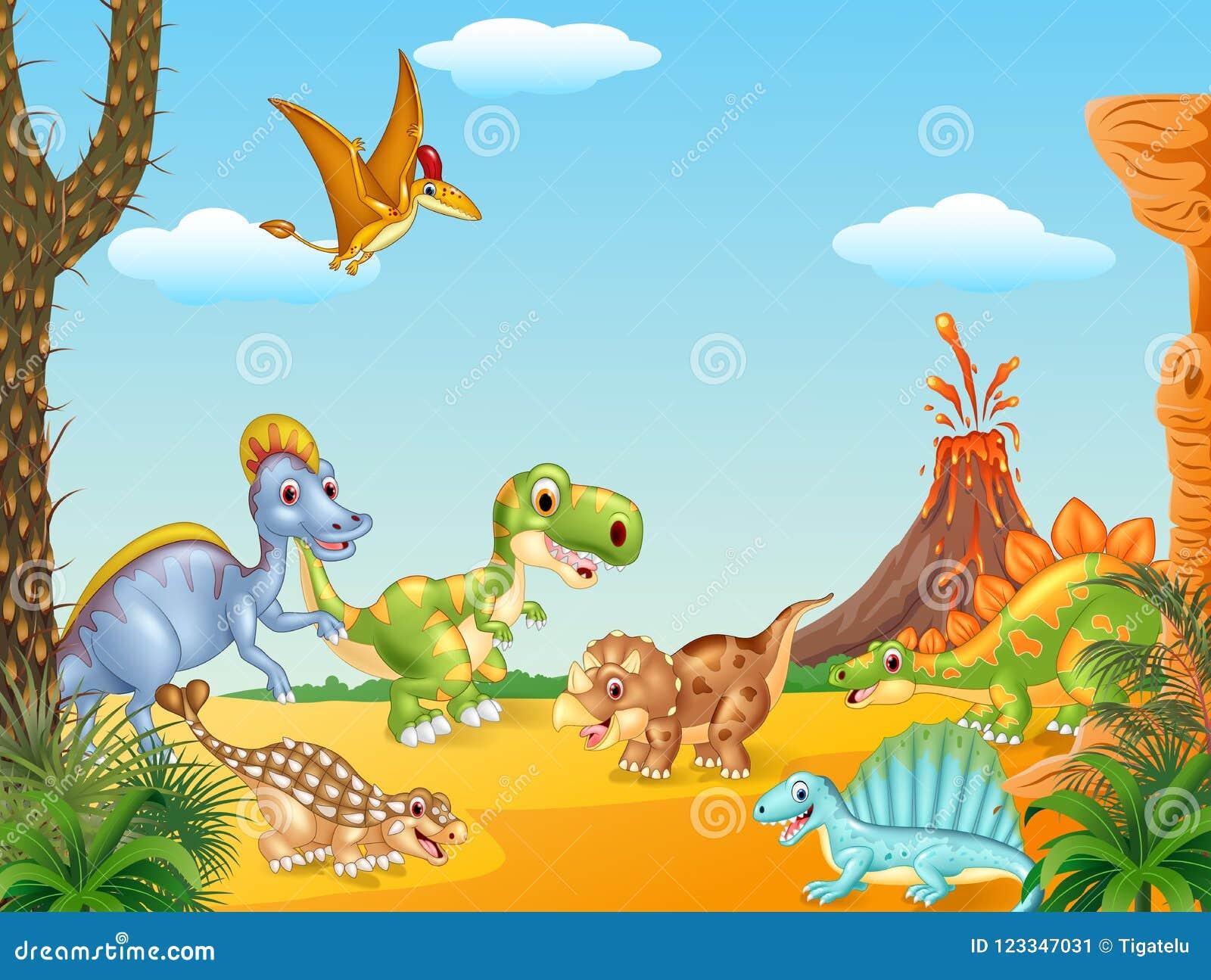 Beeldverhaal gelukkige dinosaurussen met vulkaan