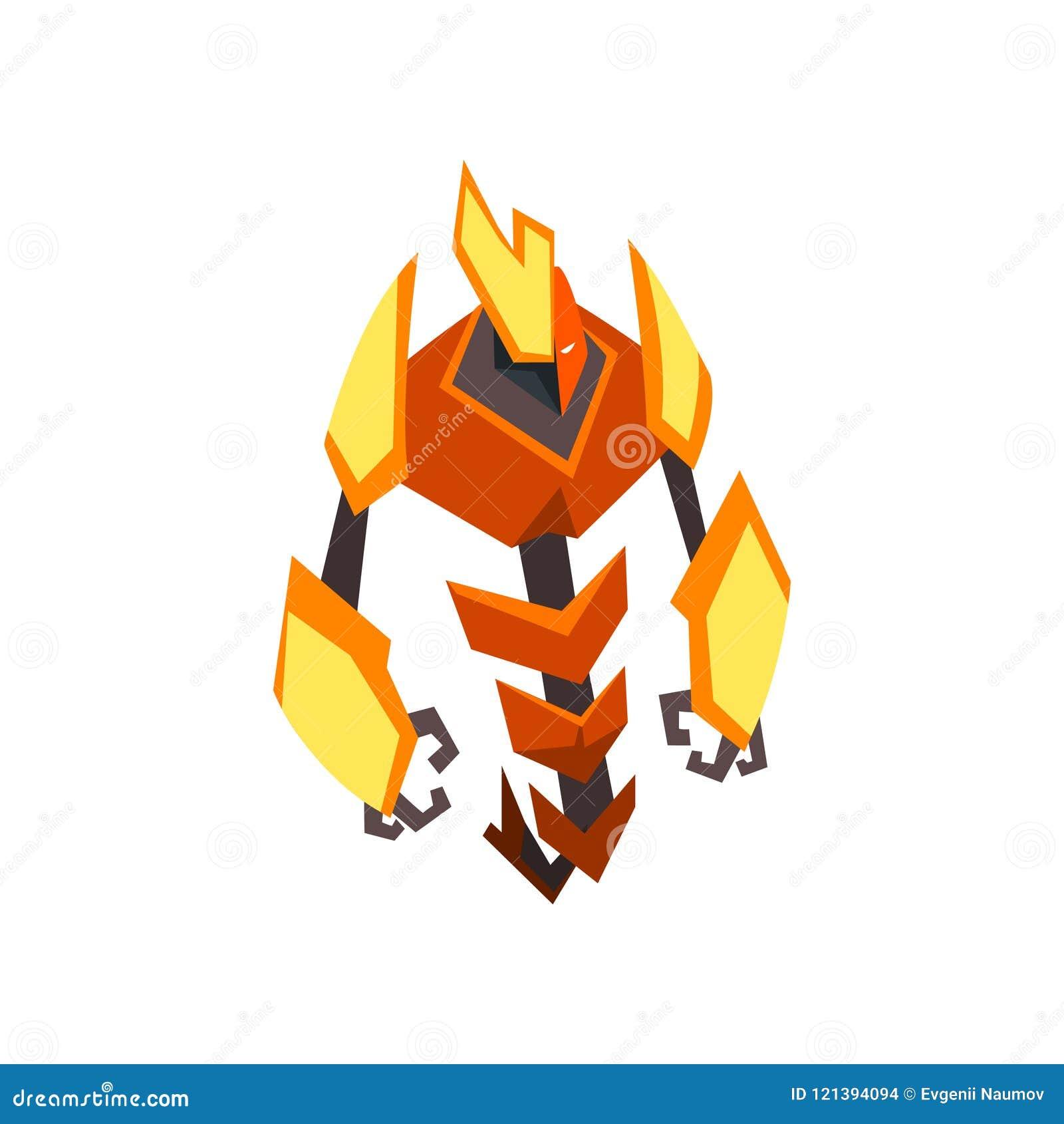 Beeldverhaal helder-gekleurde transformator Sterke oranje en gele metaalrobot Vlak vectorontwerp voor druk, mobiel spel of