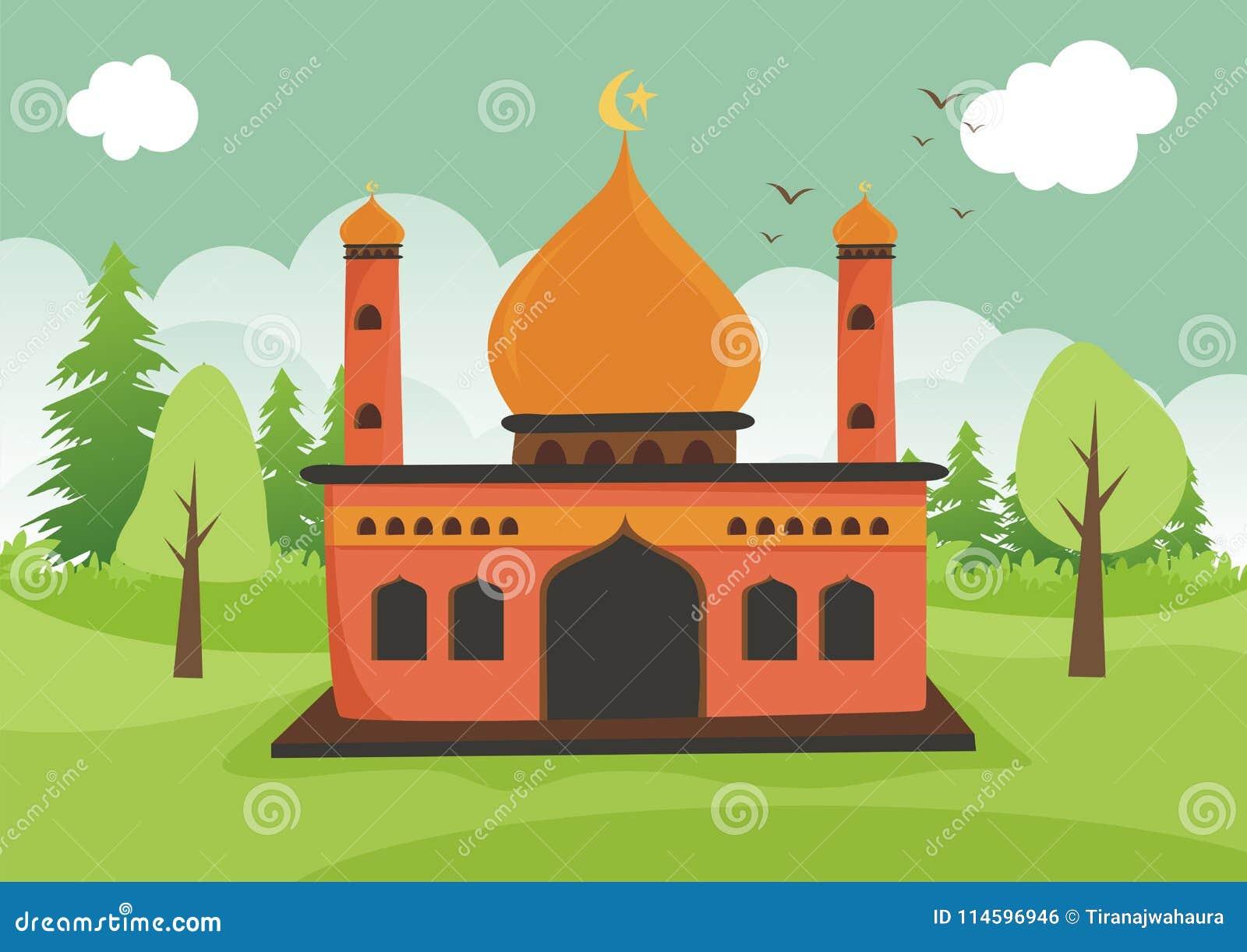 Beeldverhaal Islamitische moskee met landschap