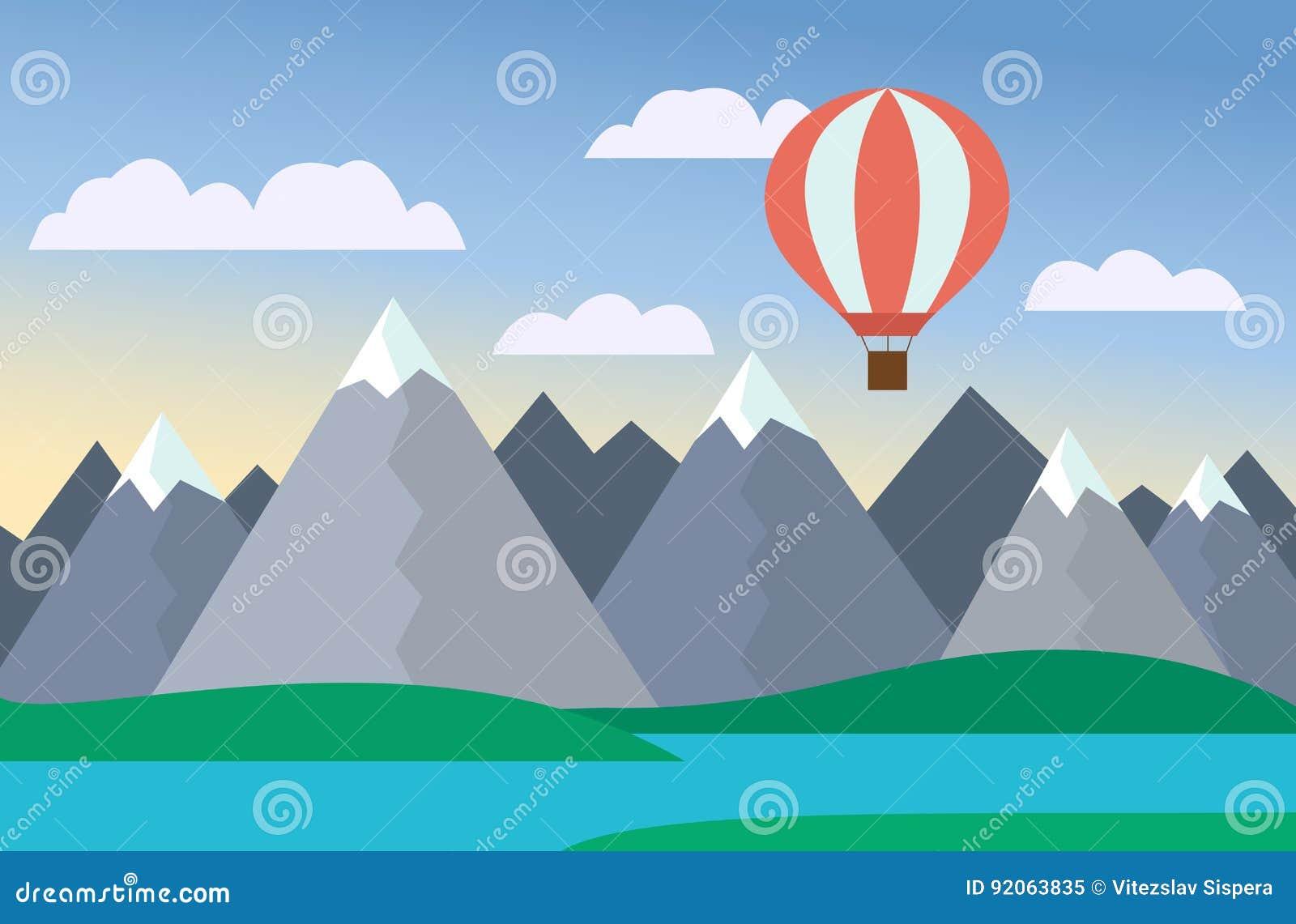 Beeldverhaal kleurrijke vectorillustratie van berglandschap met meer en heuvel onder blauwe hemel met wolken en luchtballon