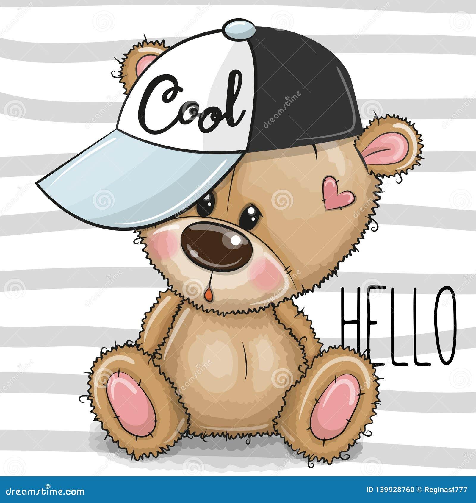 Beeldverhaal Koel Teddy Bear met een roze GLB op gestreepte achtergrond