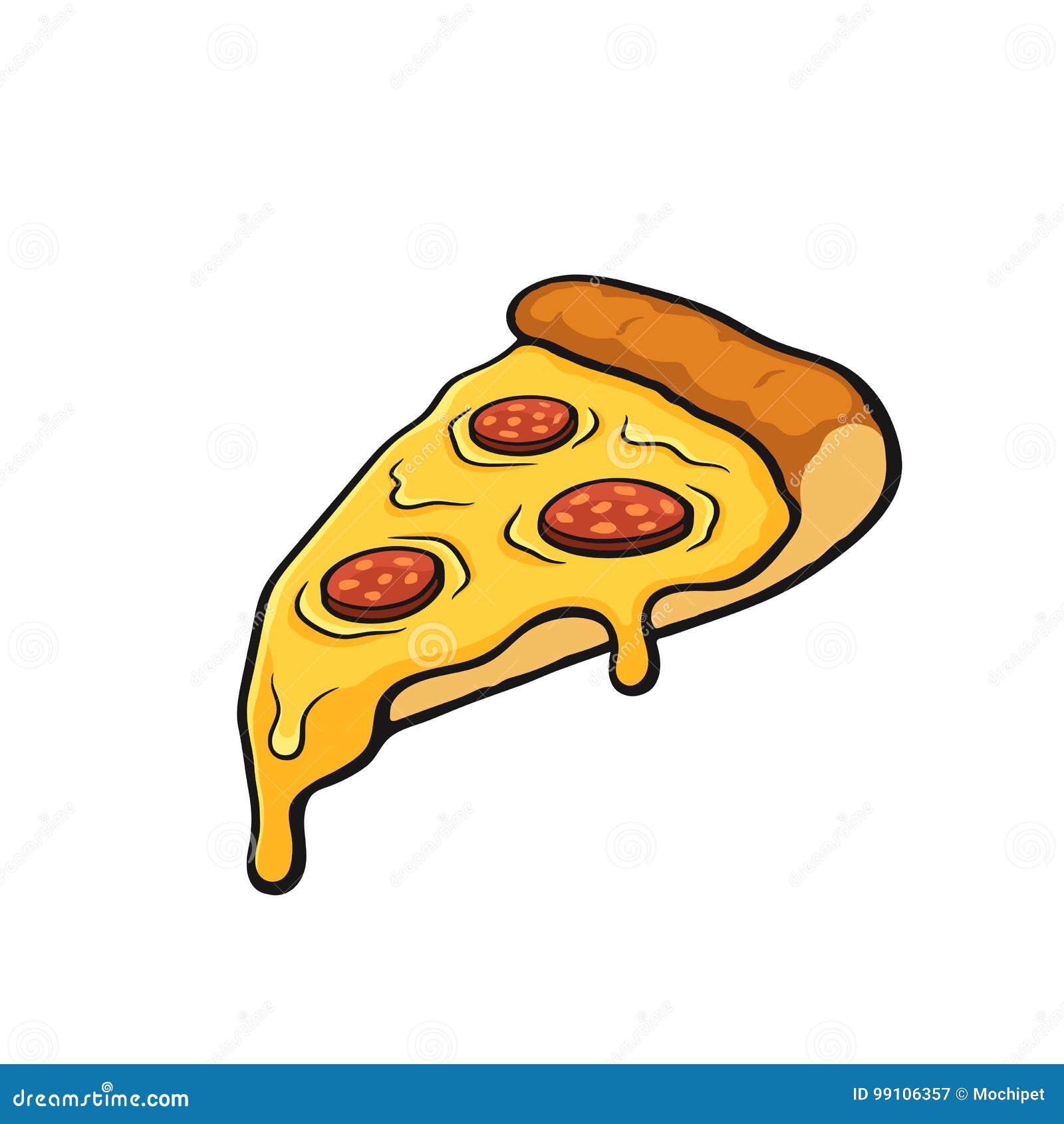 Beeldverhaal met contour van pizzaplak met gesmolten kaas en pepperonis