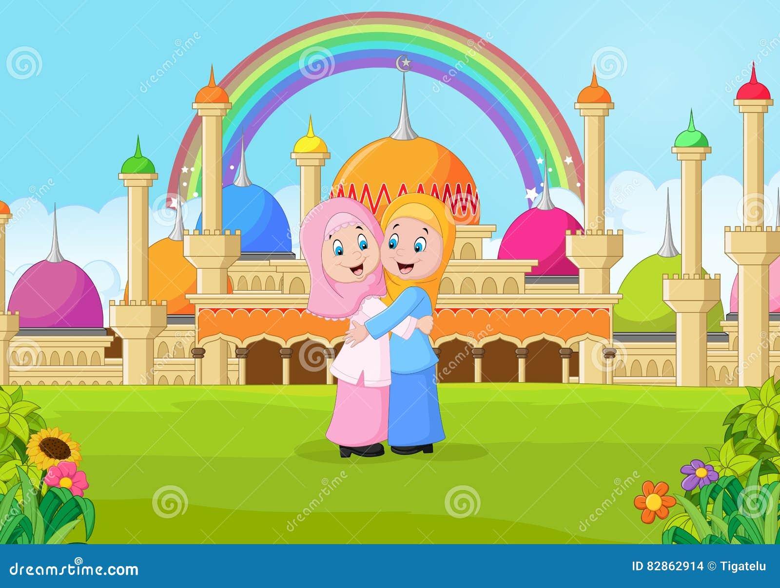 Beeldverhaal Moslimmeisje die voor een moskee koesteren