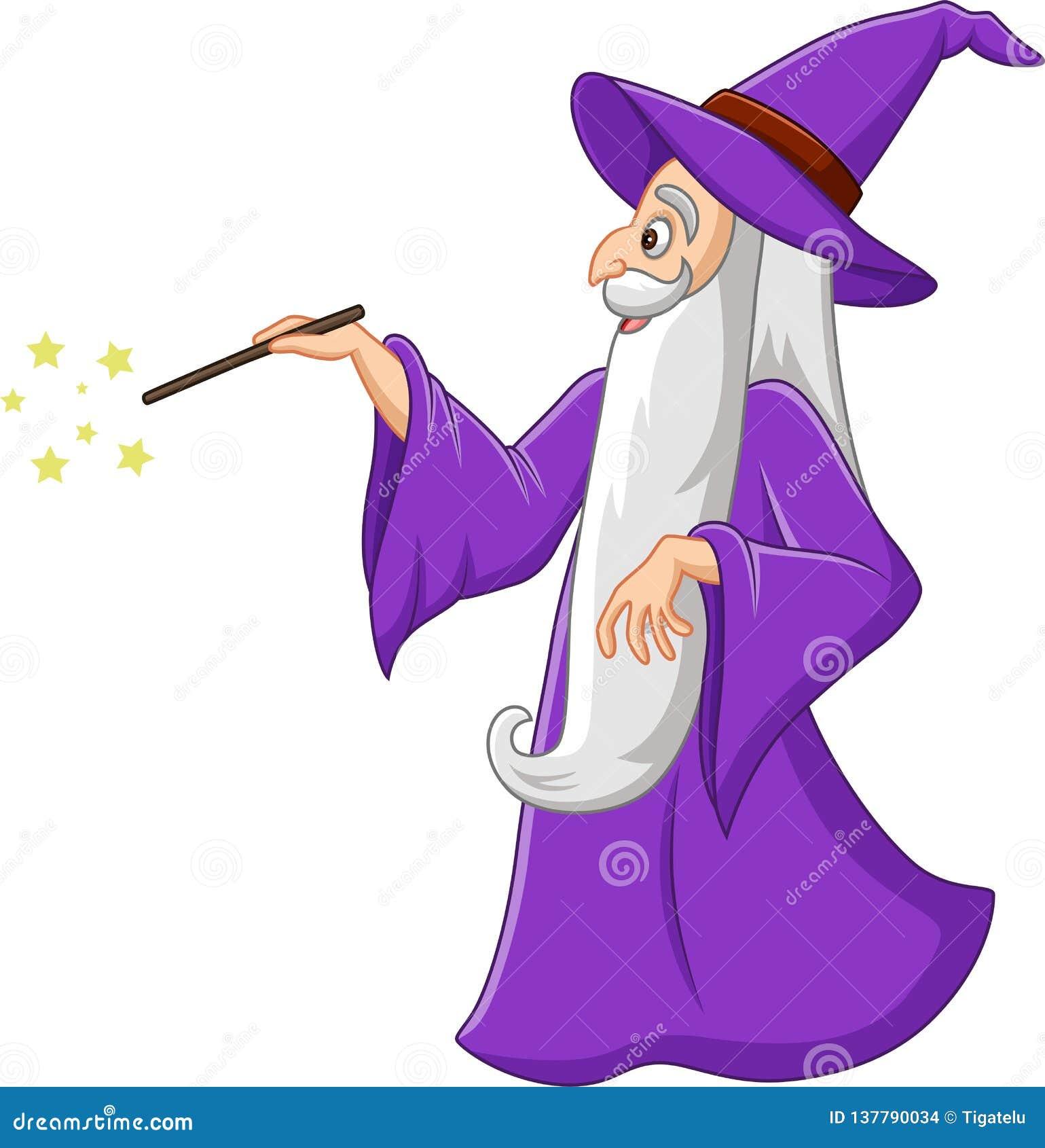 Beeldverhaal oude tovenaar met toverstokje