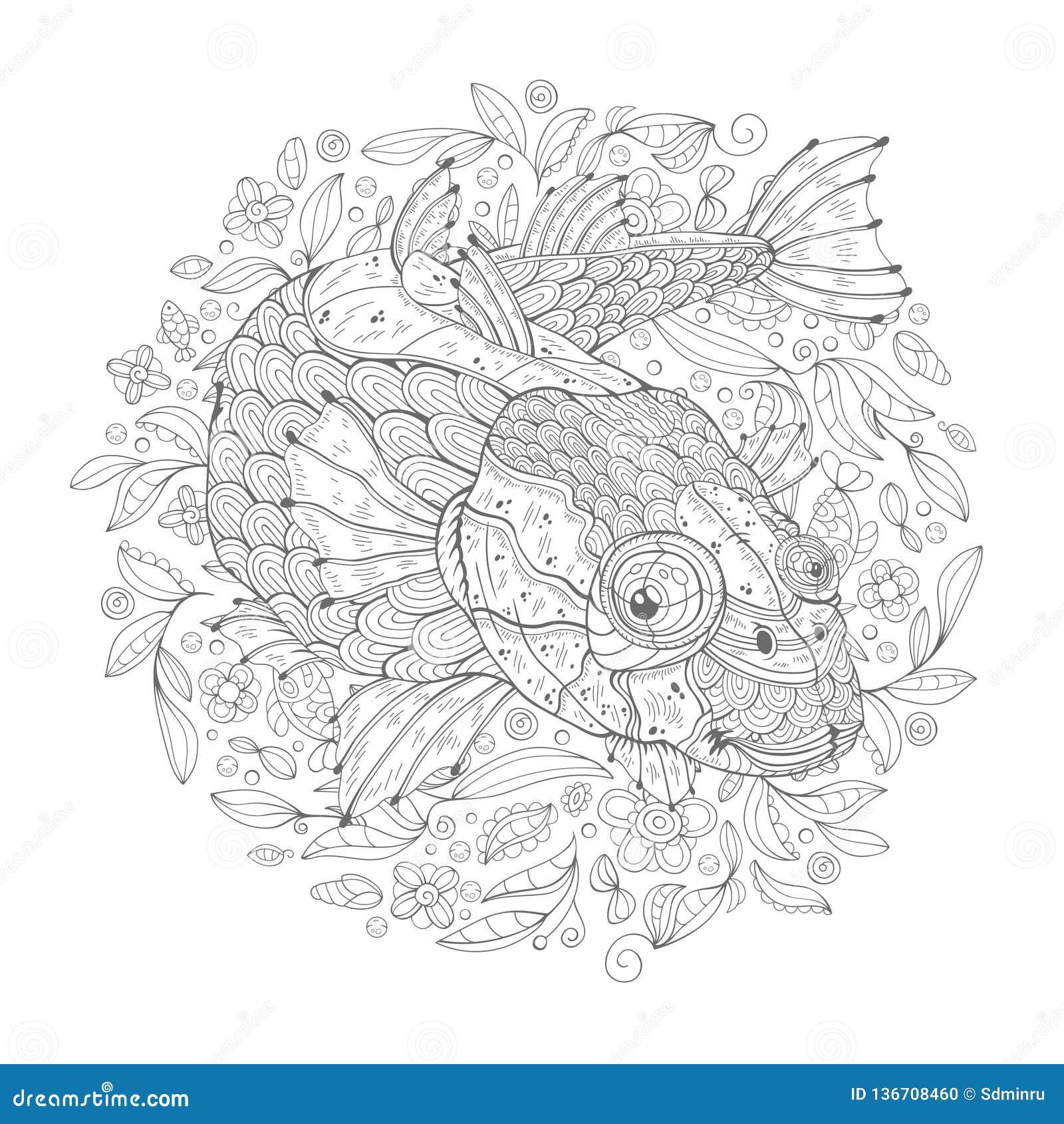 Beeldverhaal Overzeese Vissen met Algen
