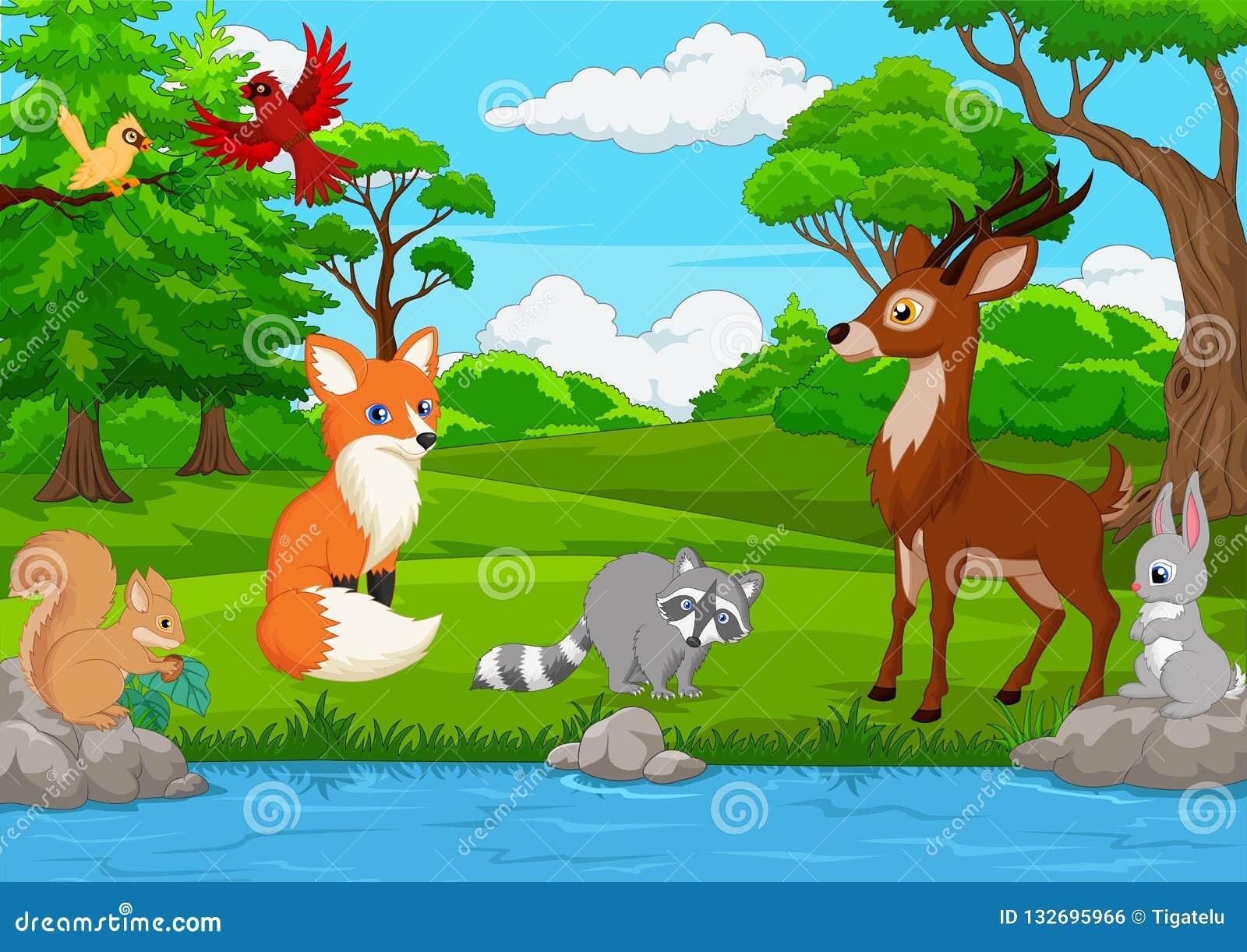 Beeldverhaal wild dier in de wildernis